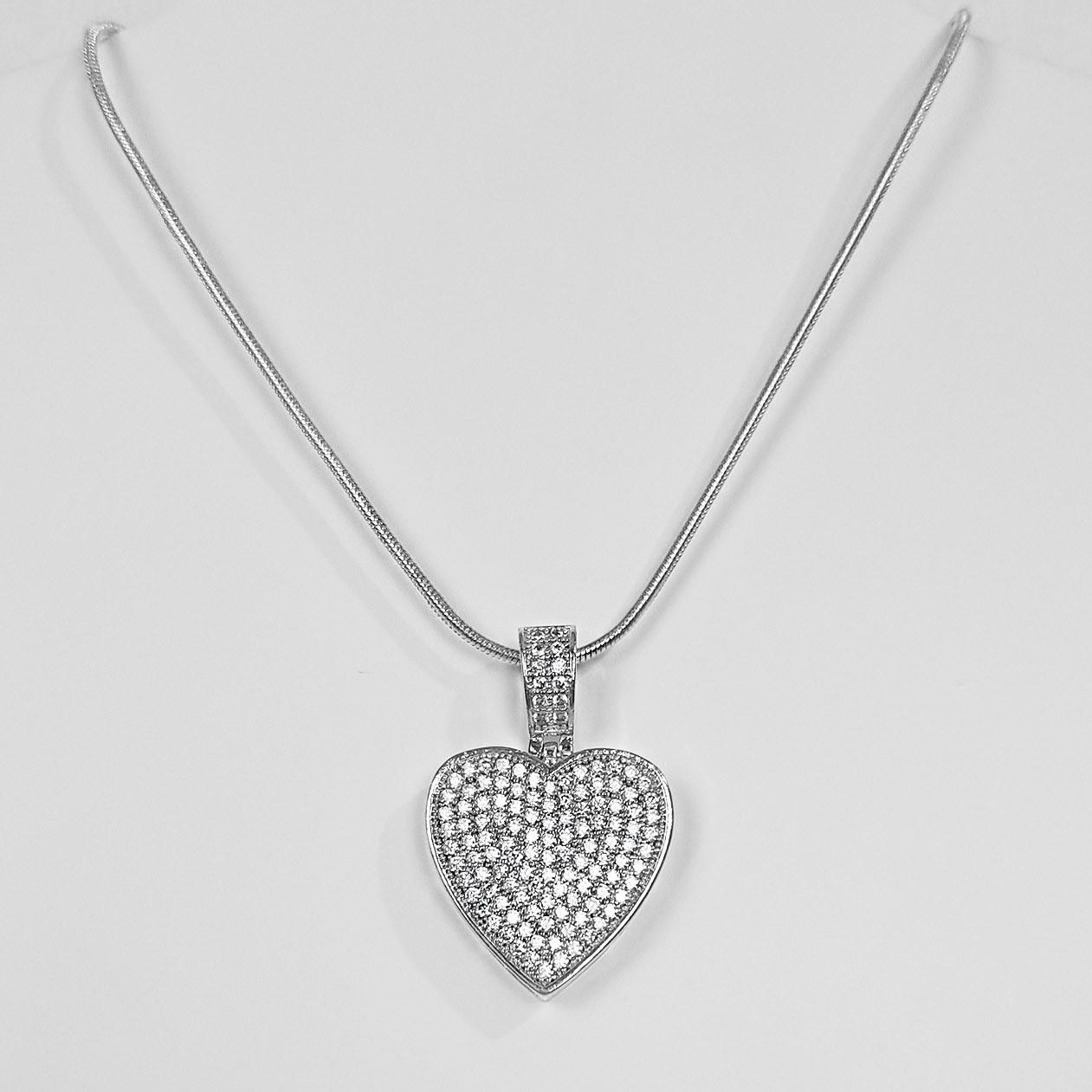 Colar 45cm Coração Luxo Menor Cravejado Folheado a Prata 1000  - Lunozê Joias
