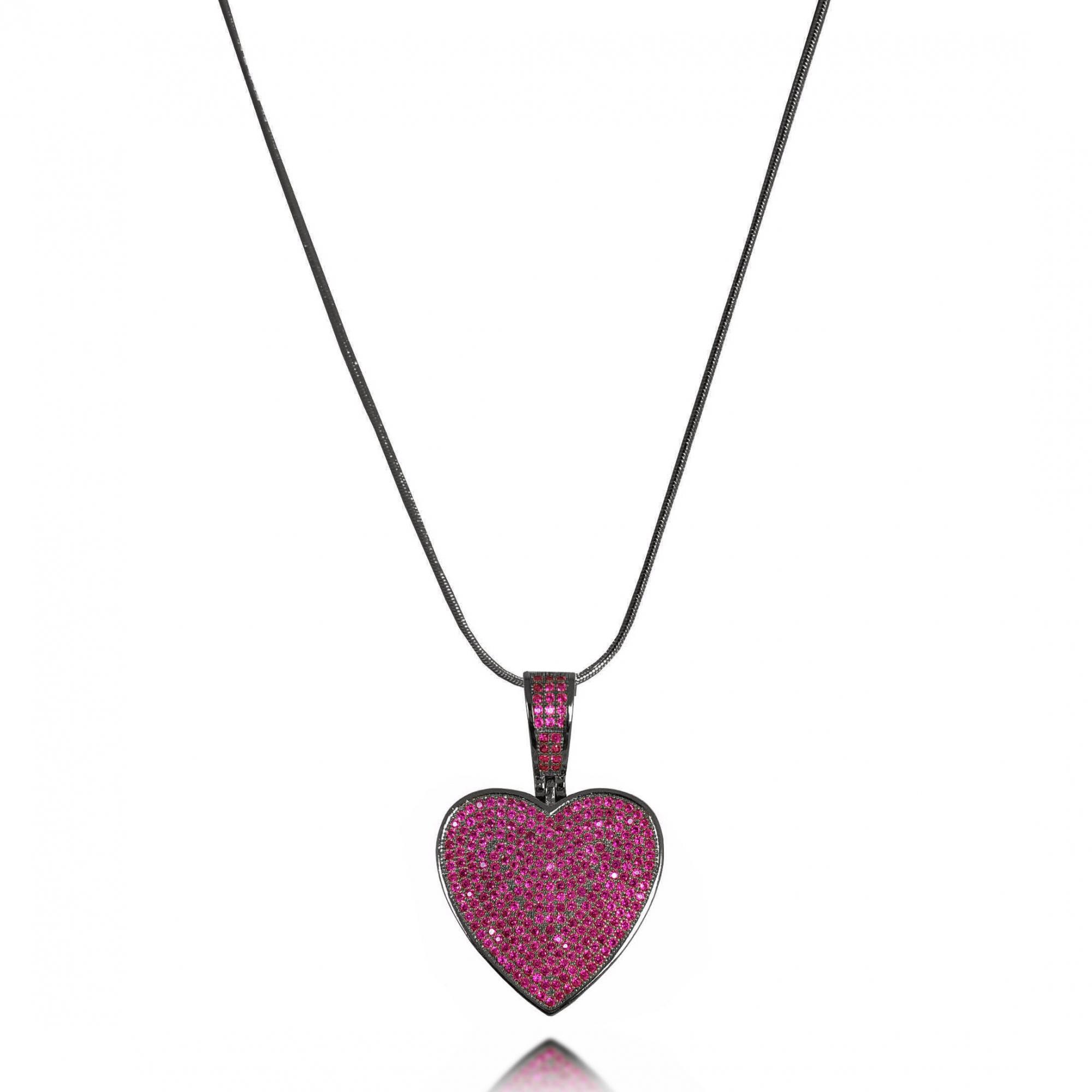 Colar 60cm Coração Luxo Cravejado Pink Banho a Ródio Negro  - Lunozê Joias