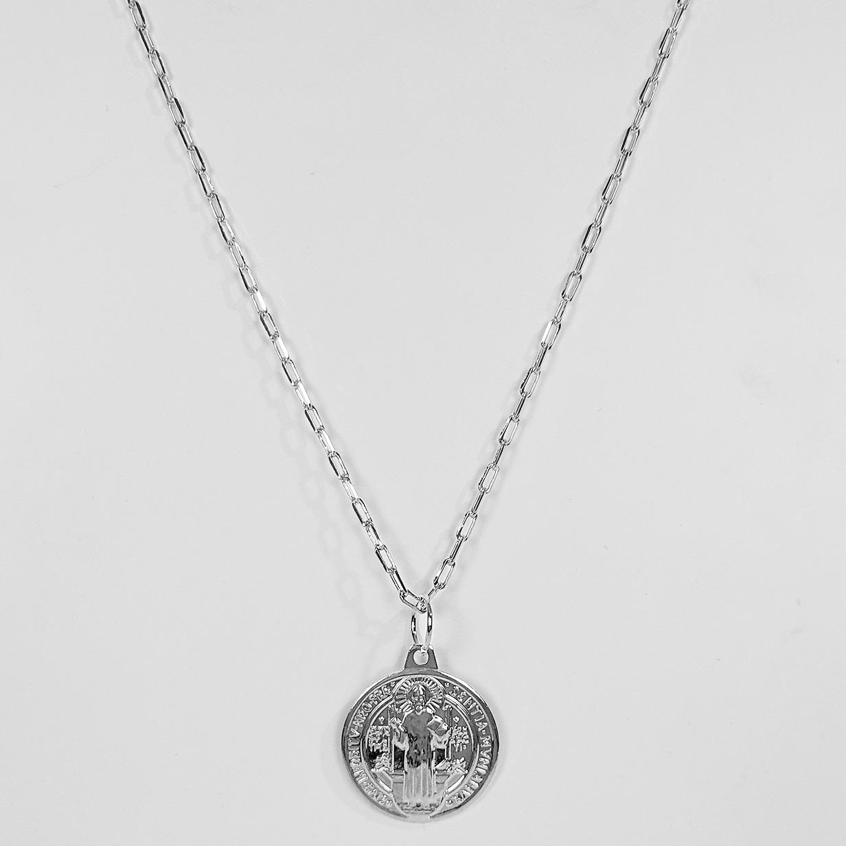Colar Corrente Fecho Bóia Medalha São Bento Folheado Prata 1000  - Lunozê Joias
