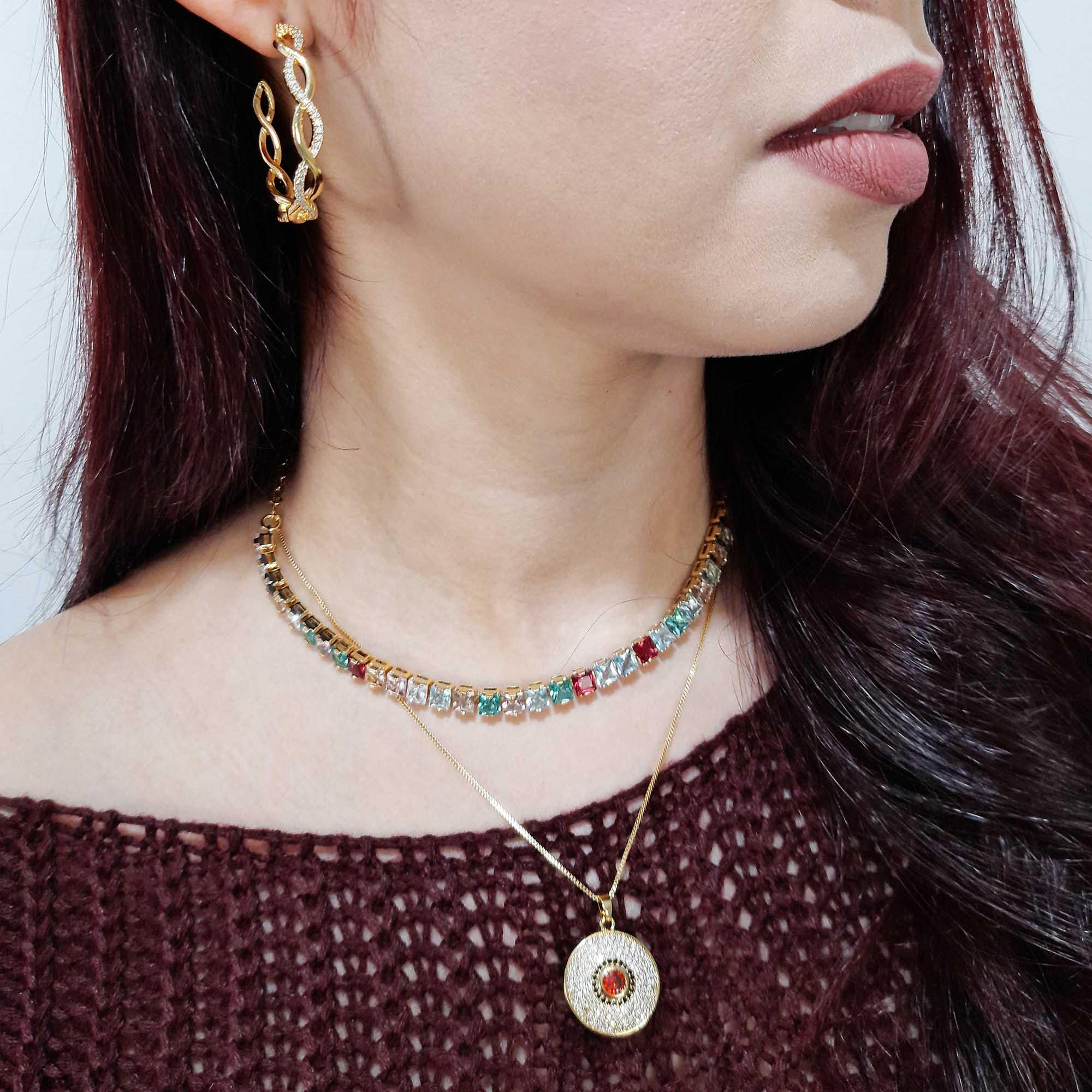 Colar Choker Pedra Princesa Malha Coração Folheado Ouro 18k  - Lunozê Joias