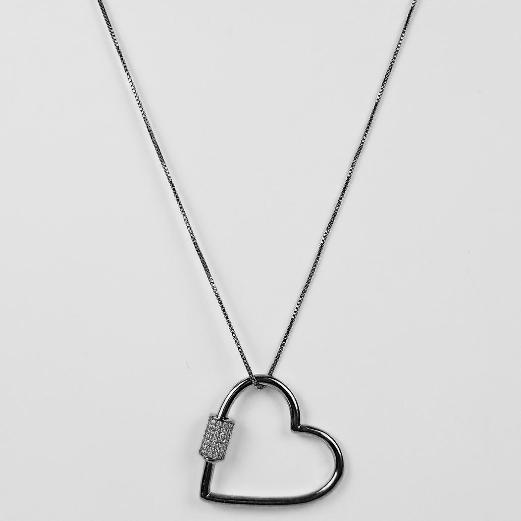 Colar Comprido 60cm Coração com Zircônias Banho Ródio Negro  - Lunozê Joias