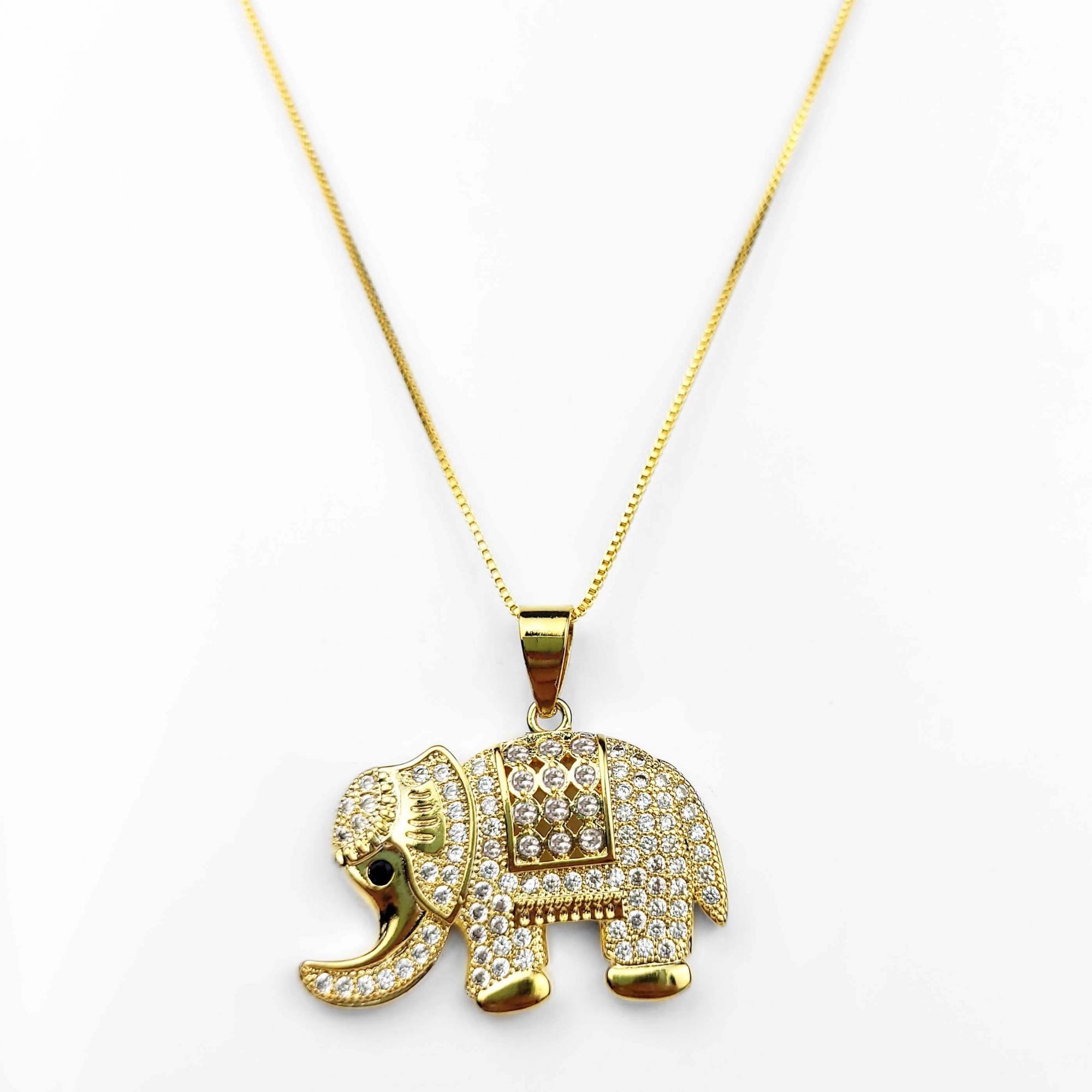 Colar Comprido Elefante com Zircônias Folheado Ouro 18k  - Lunozê Joias