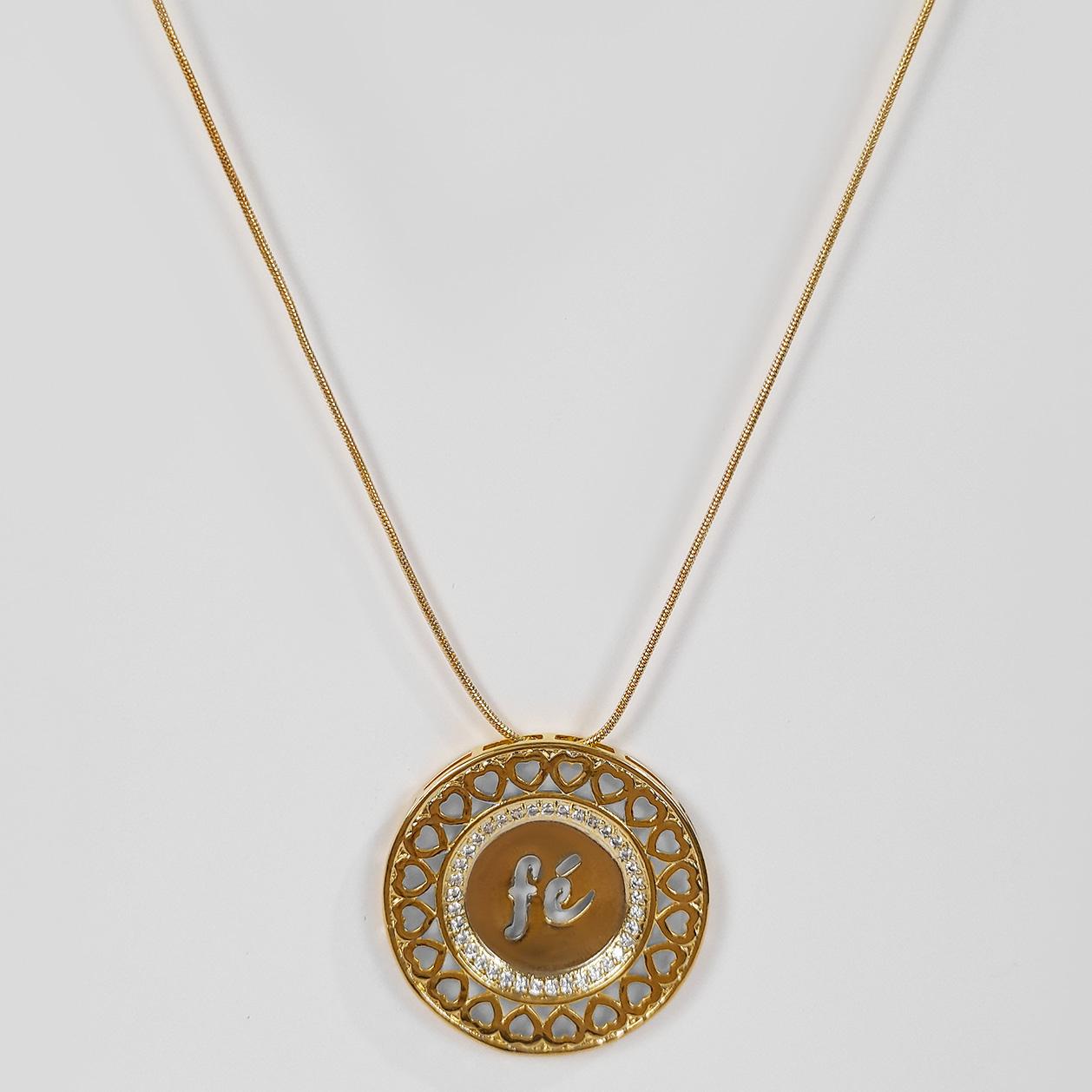 Colar Comprido Medalhão Fé Cravejado Folheado Ouro 18k  - Lunozê Joias