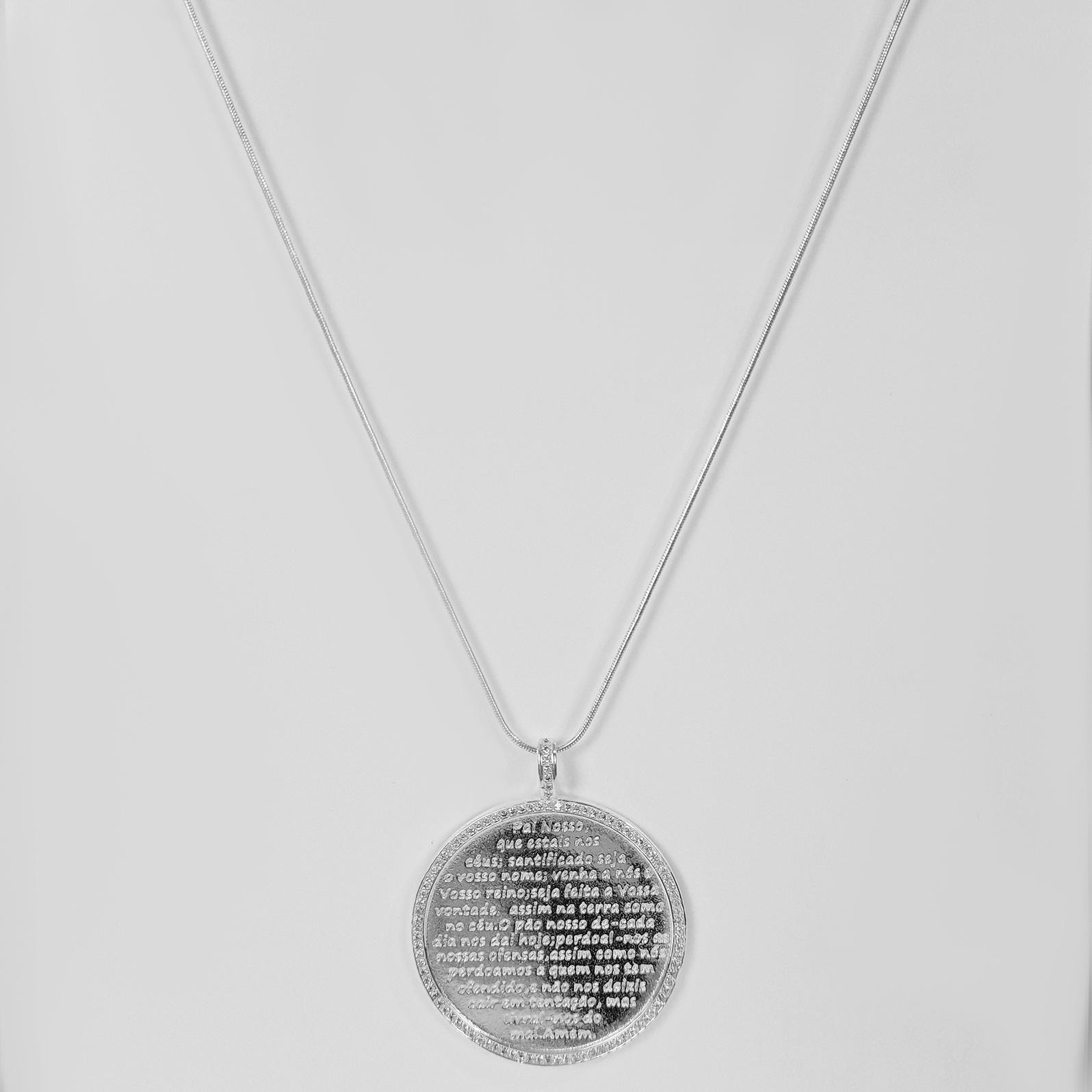 Colar Comprido Medalhão Pai Nosso Folheado a Prata 1000  - Lunozê Joias