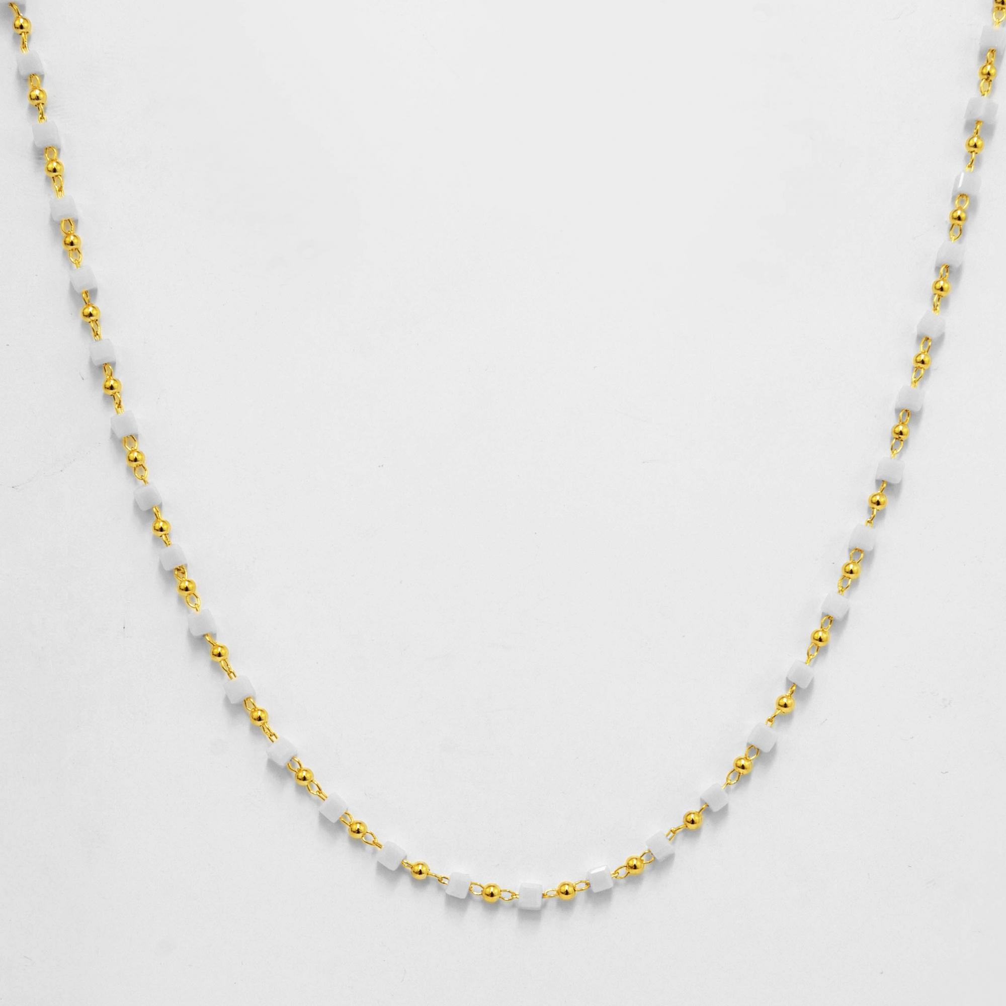 Colar Comprido Pedras Quadradas Folheado a Ouro 18K  - Lunozê Joias