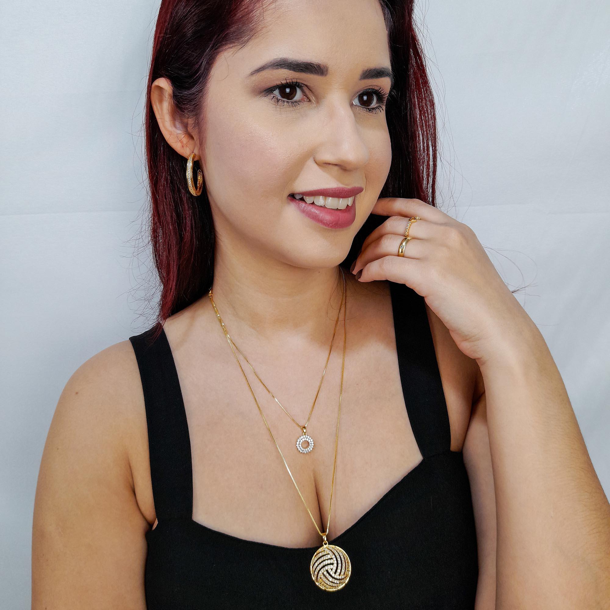 Colar Comprido Pingente Redondo Zircônias Folheado Ouro 18K  - Lunozê Joias