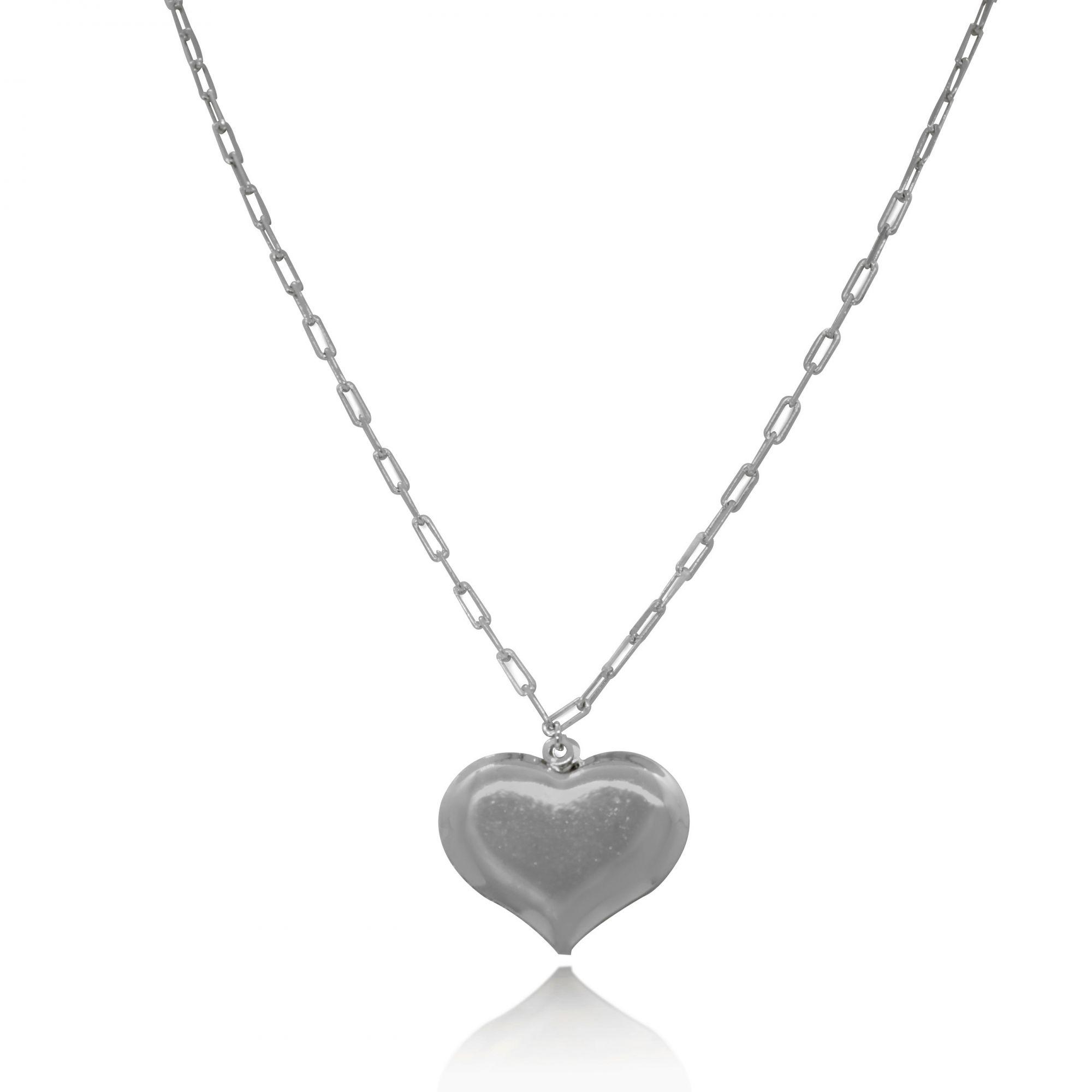 Colar Coração Malha Cartier Folheado a Prata 1000