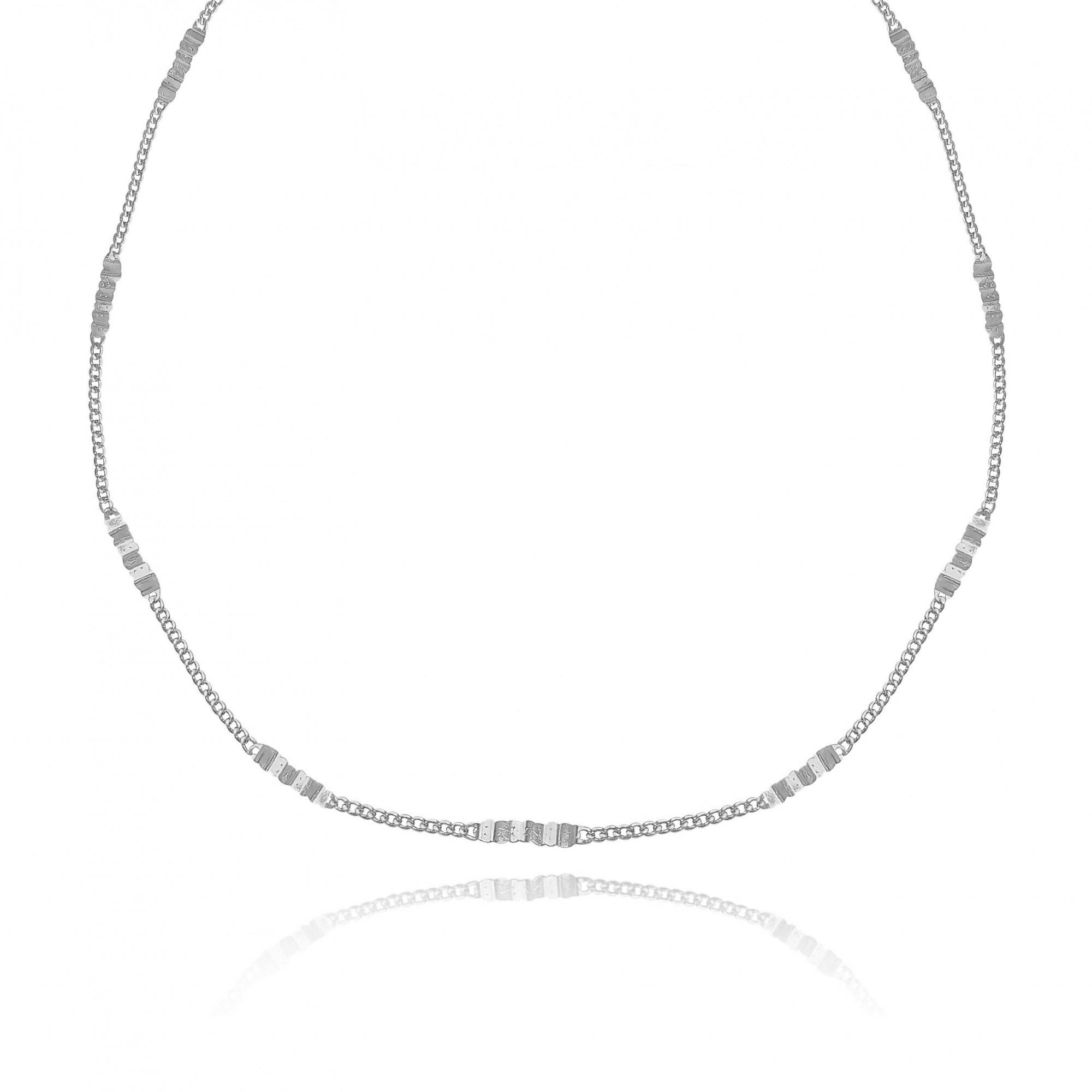 Colar Corrente Mista Elos Cadeados 45 cm Folheado a Prata 1000  - Lunozê Joias