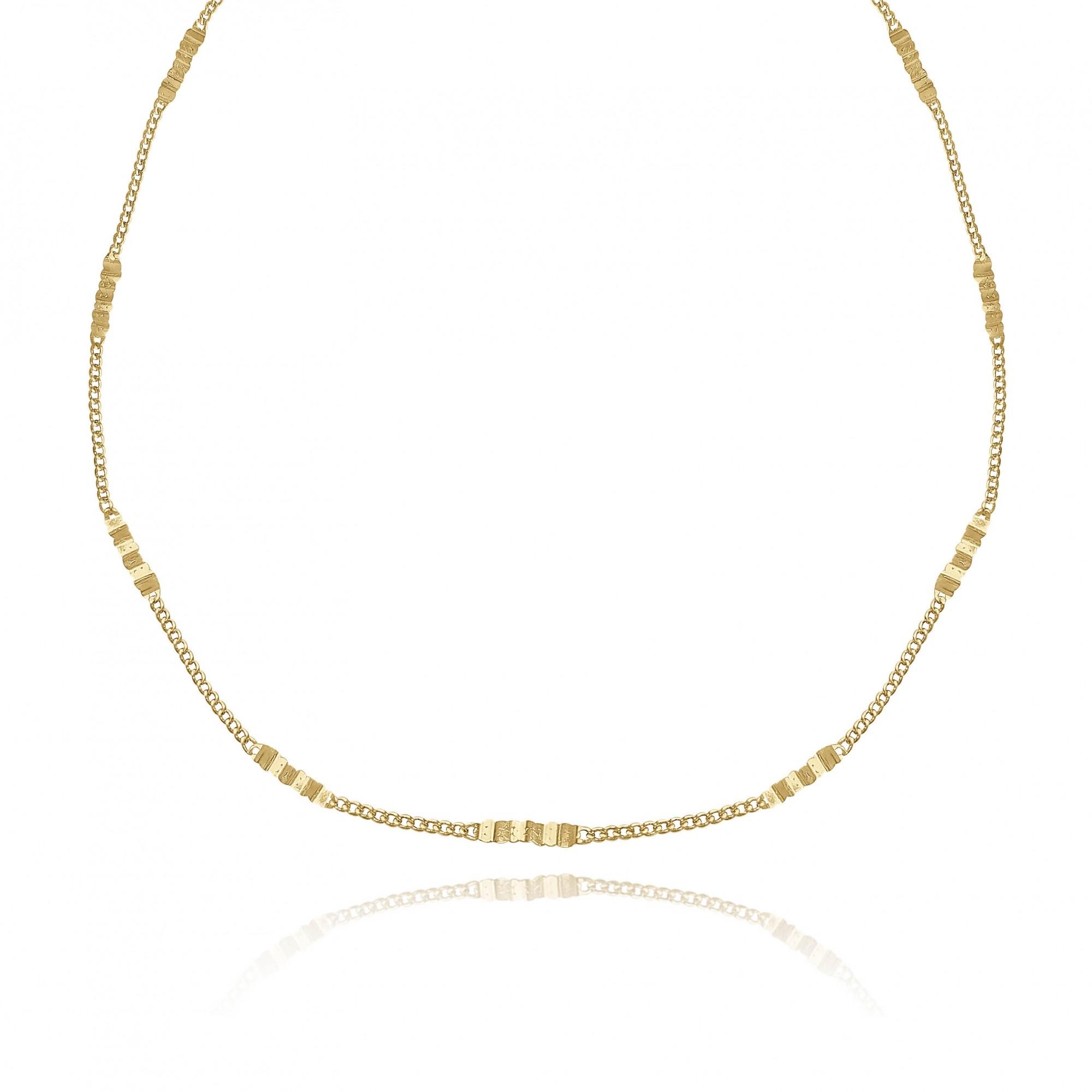 Colar Corrente Mista Elos Cadeados 60 cm Folheado a Ouro 18k  - Lunozê Joias