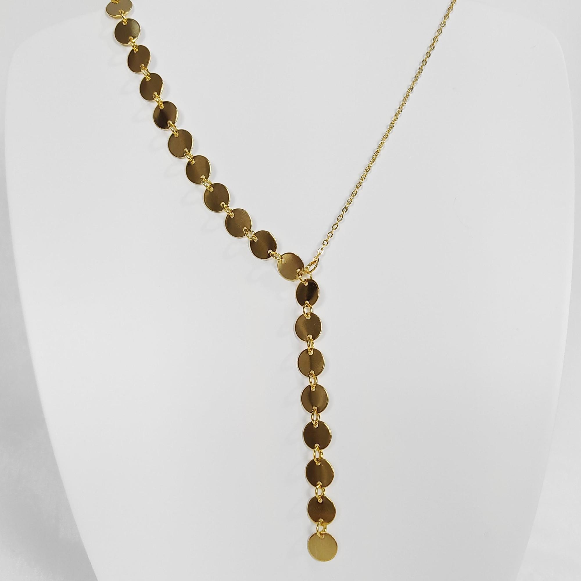 Colar Gravatinha Unilateral Circular Folheado a Ouro 18k  - Lunozê Joias