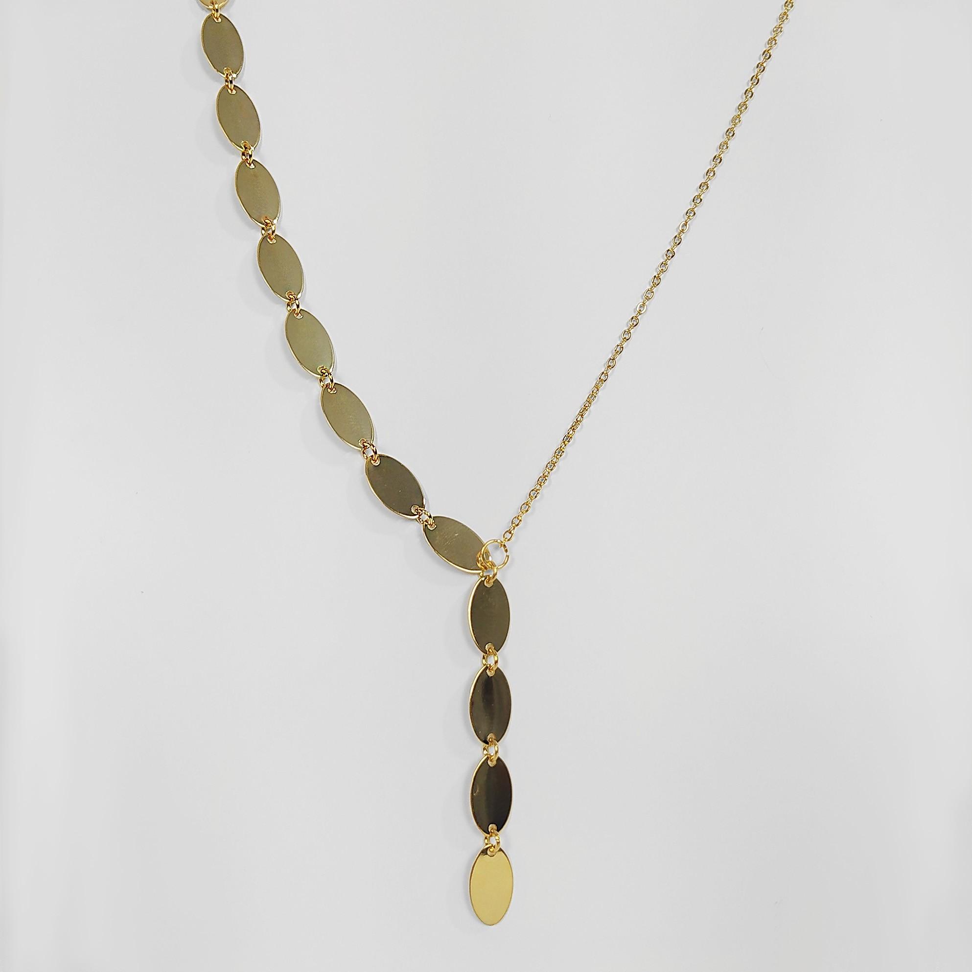 Colar Gravatinha Unilateral Oval Folheado a Ouro 18k  - Lunozê Joias
