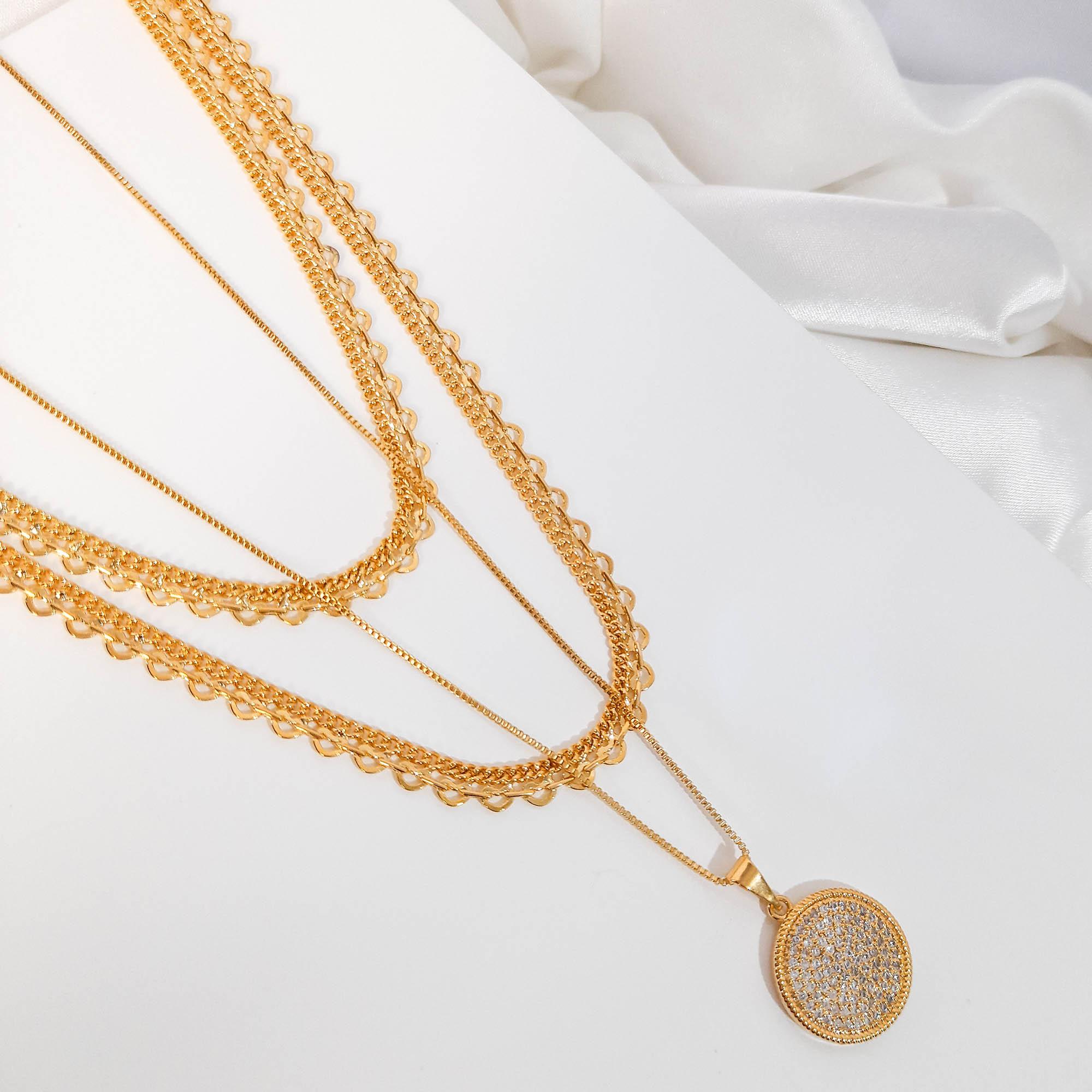 Colar Malha Grumet e Coração 40cm Folheado a Ouro 18k  - Lunozê Joias