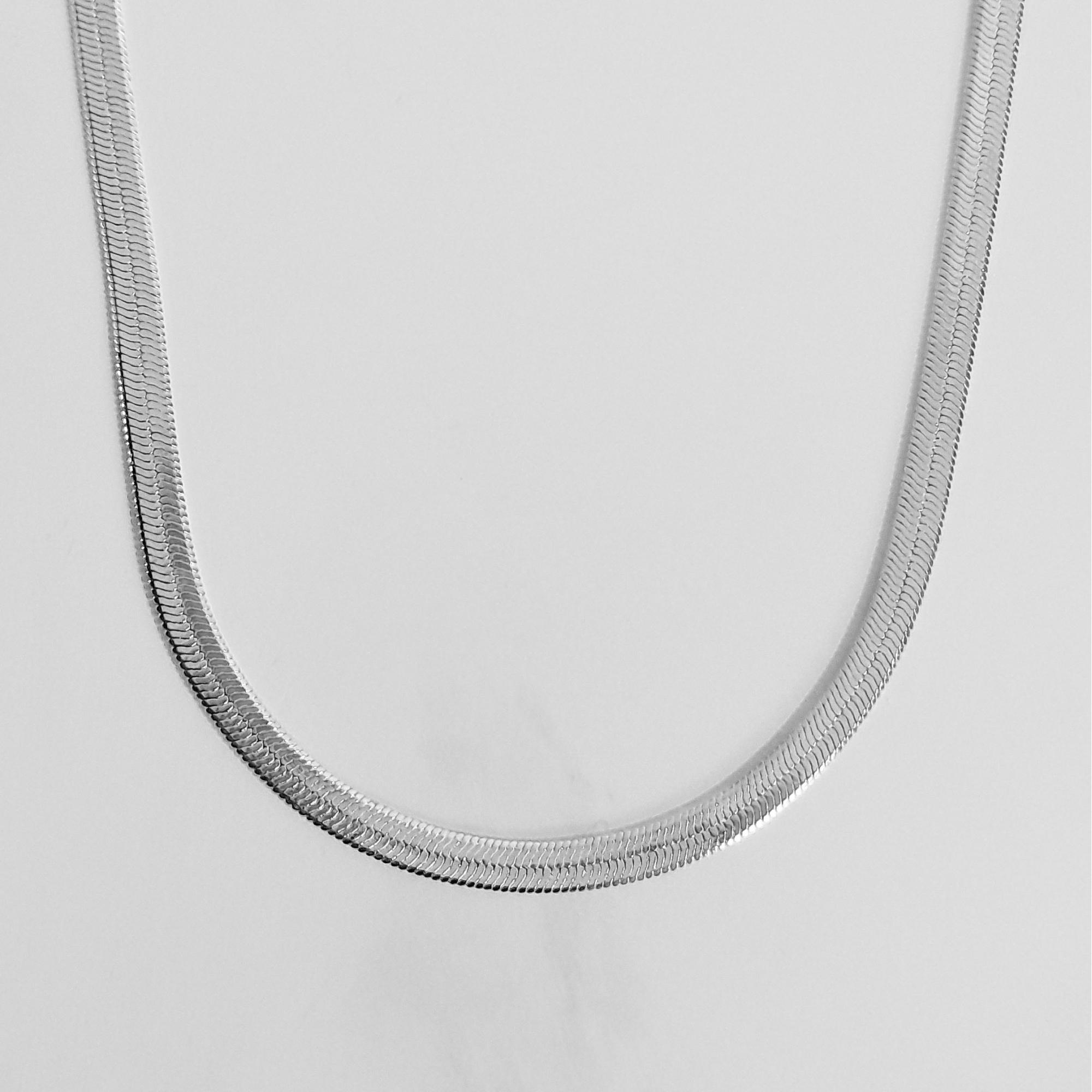 Colar Malha Serpente 3mm 45cm Folheado a Prata 1000  - Lunozê Joias