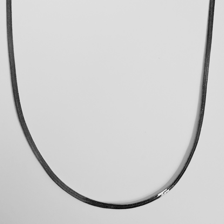 Colar Malha Serpente 45cm Banho Ródio Negro  - Lunozê Joias