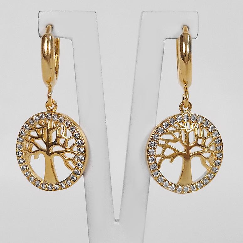 Conjunto Árvore da Vida com Zircônias Folheada a Ouro 18K  - Lunozê Joias