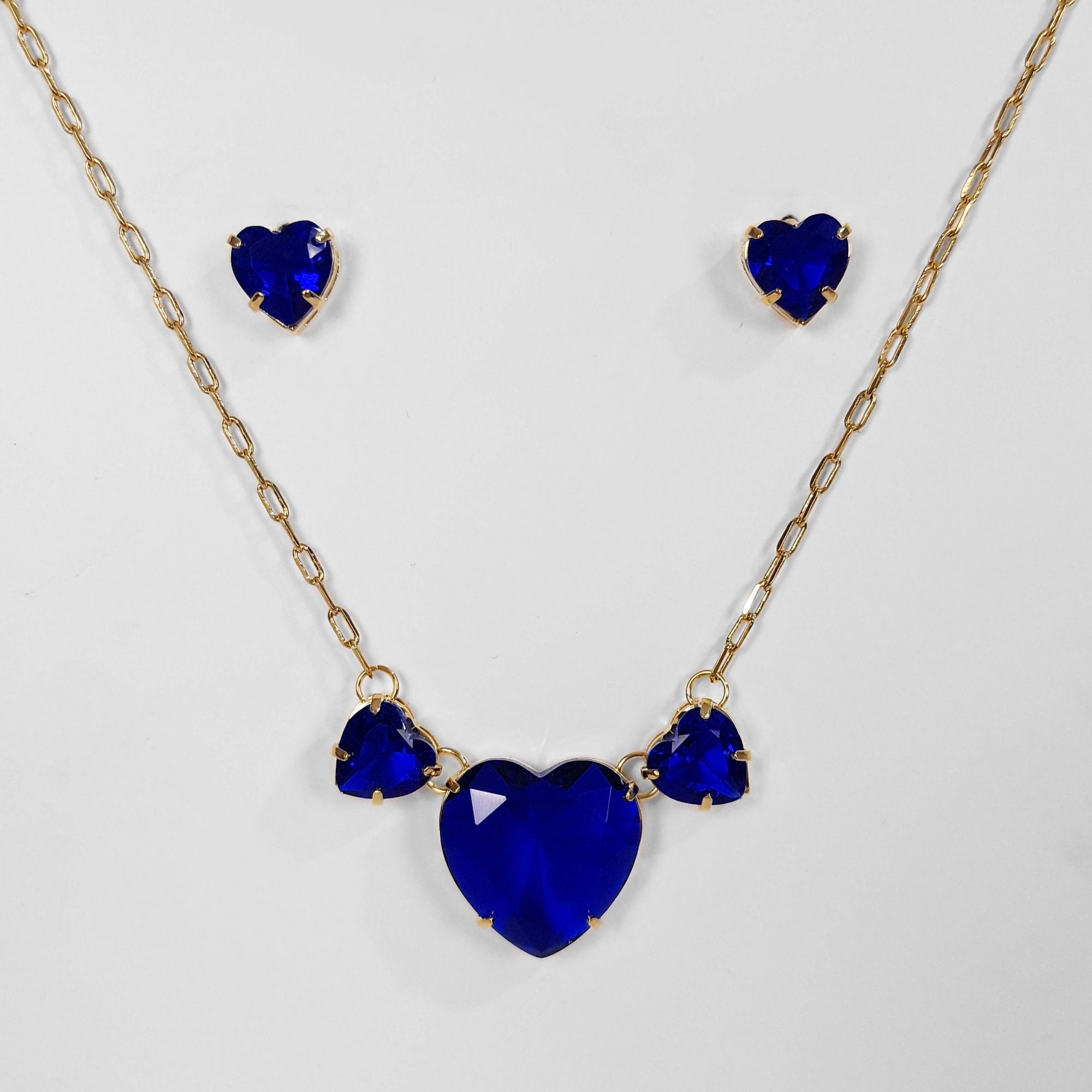 Conjunto Brinco e Colar Pedra de Coração Folheado a Ouro 18K  - Lunozê Joias