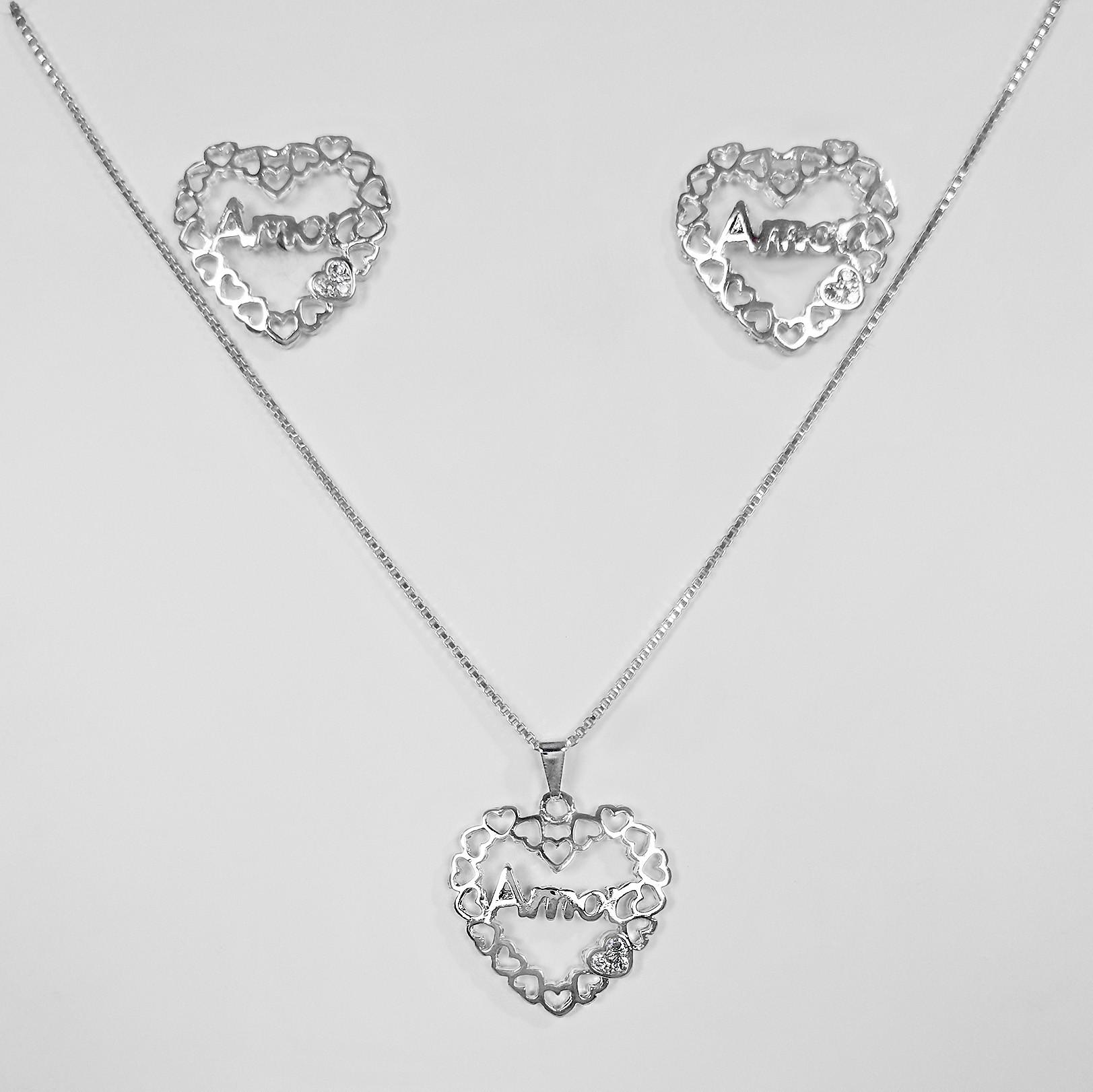 Conjunto Coração Amor com Zircônia Folheado a Prata 1000  - Lunozê Joias