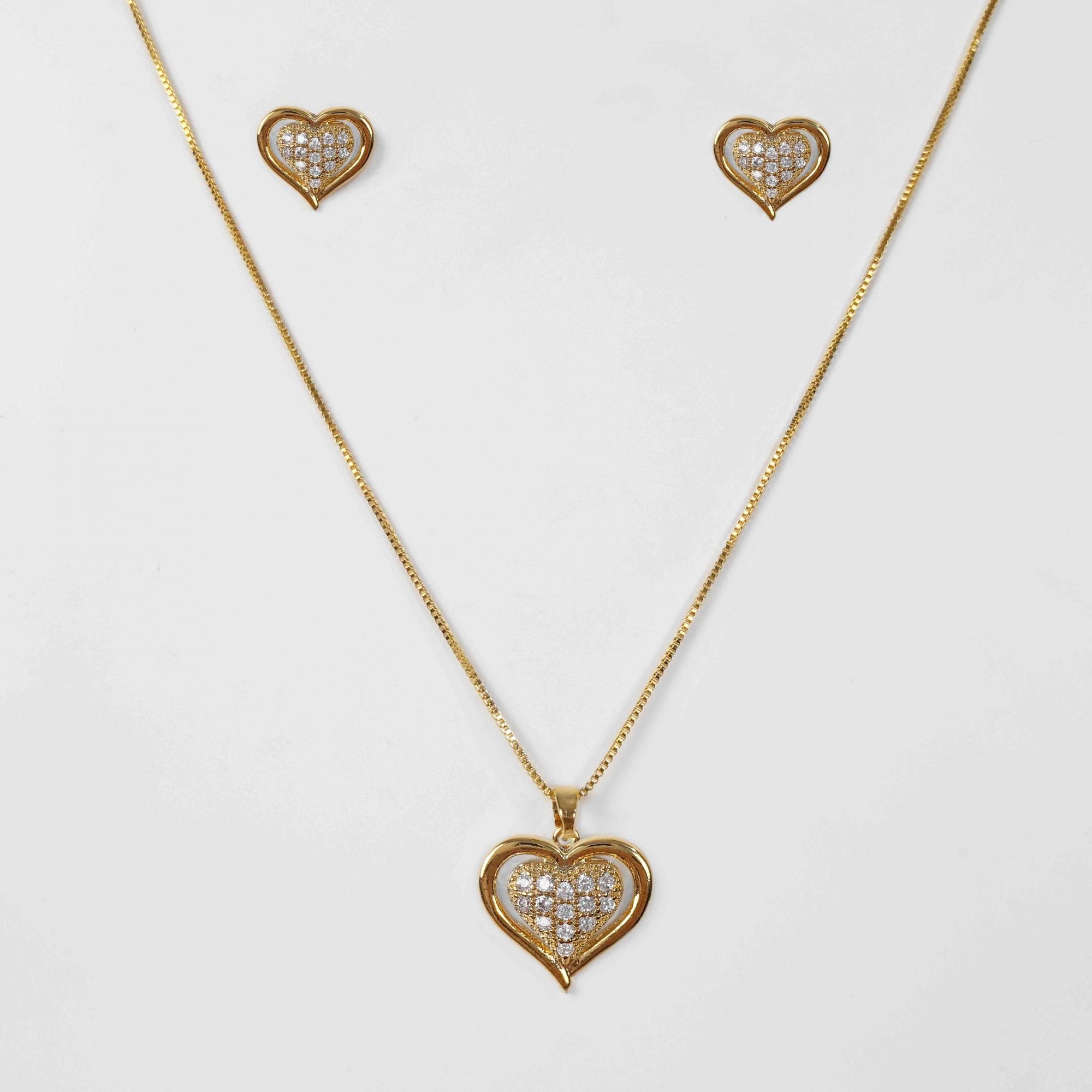 Conjunto Coração Duplo Cravejado Zircônias Folheado Ouro 18K  - Lunozê Joias