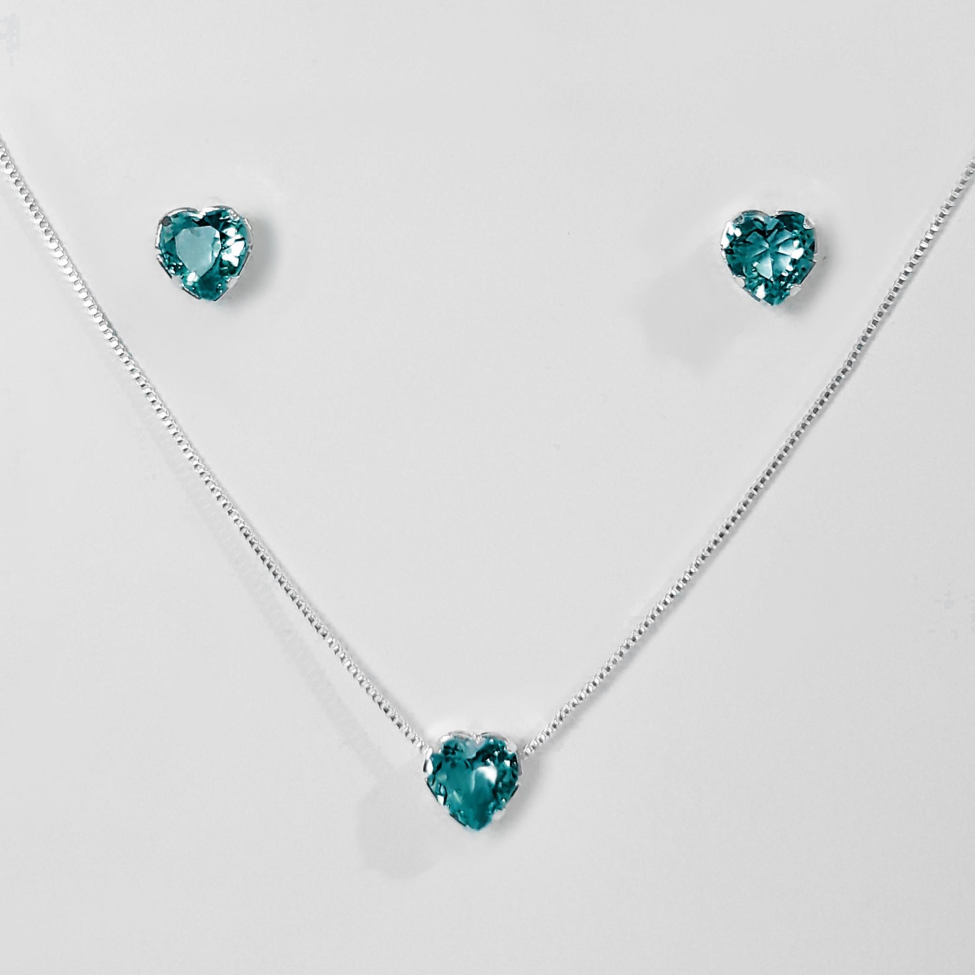Conjunto Coração Pedra Acrílica Folheado a Prata 1000  - Lunozê Joias