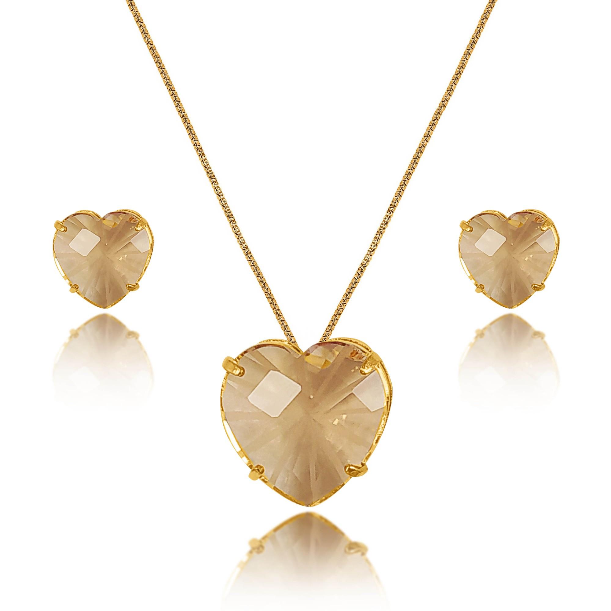 Conjunto Coração Pedra Riscada Folheado a Ouro 18k  - Lunozê Joias