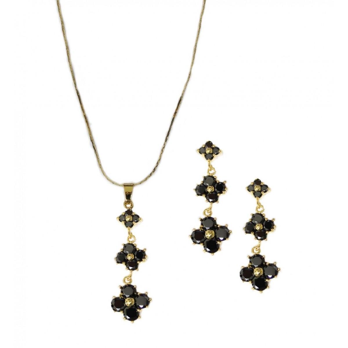 Conjunto Gargantilha e Brincos com 3 Flores de Zircônia Folheado a Ouro 18k