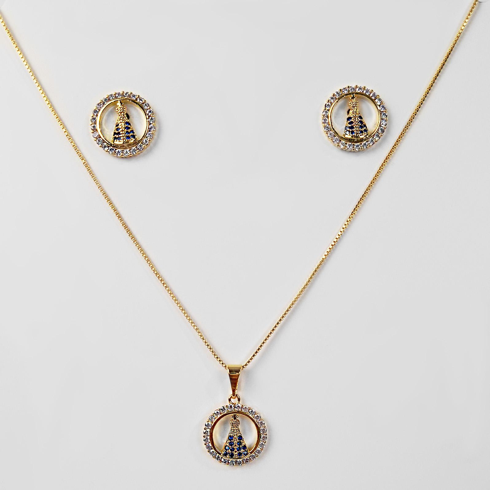 Conjunto Nossa Senhora Aparecida Zircônia Folheada a Ouro 18K  - Lunozê Joias