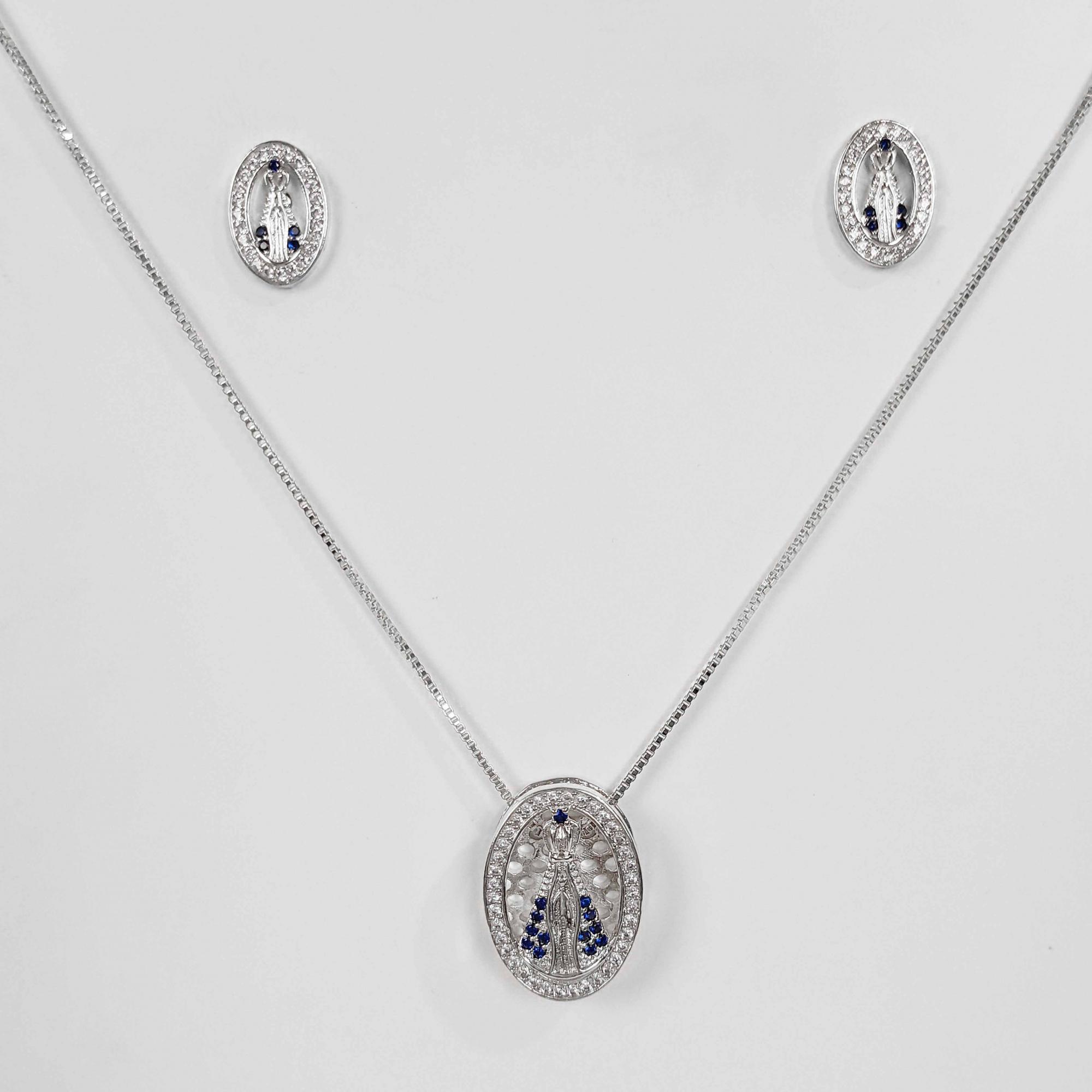 Conjunto Nossa Senhora Aparecida Zircônia Folheada Prata 1000  - Lunozê Joias