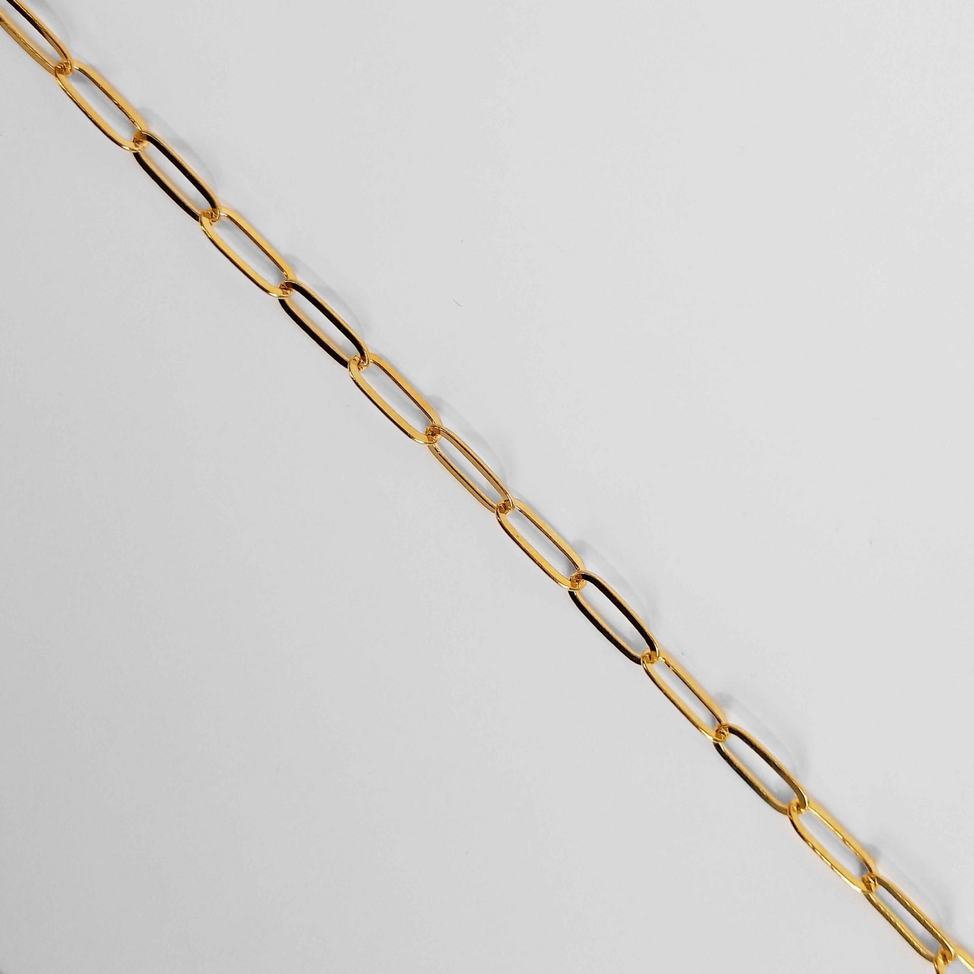 Corrente Feminina Elo Alongado 5mm 60cm Folheado Ouro 18k  - Lunozê Joias