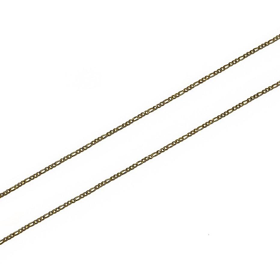 Corrente Italiana Masculina Fina 2 mm (3x1) Folheada a Ouro 18k