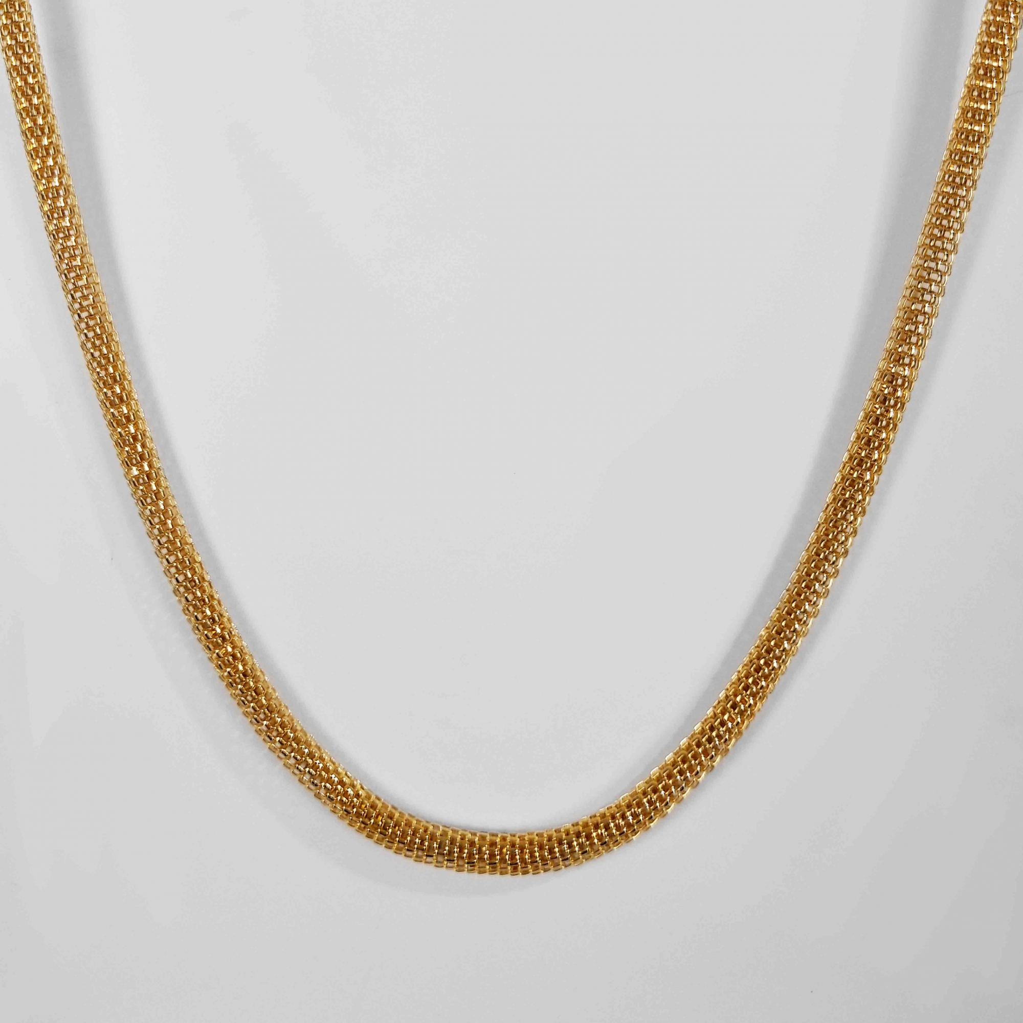 Corrente Malha Italiana Redonda 45cm 4mm Folheado Ouro 18k  - Lunozê Joias