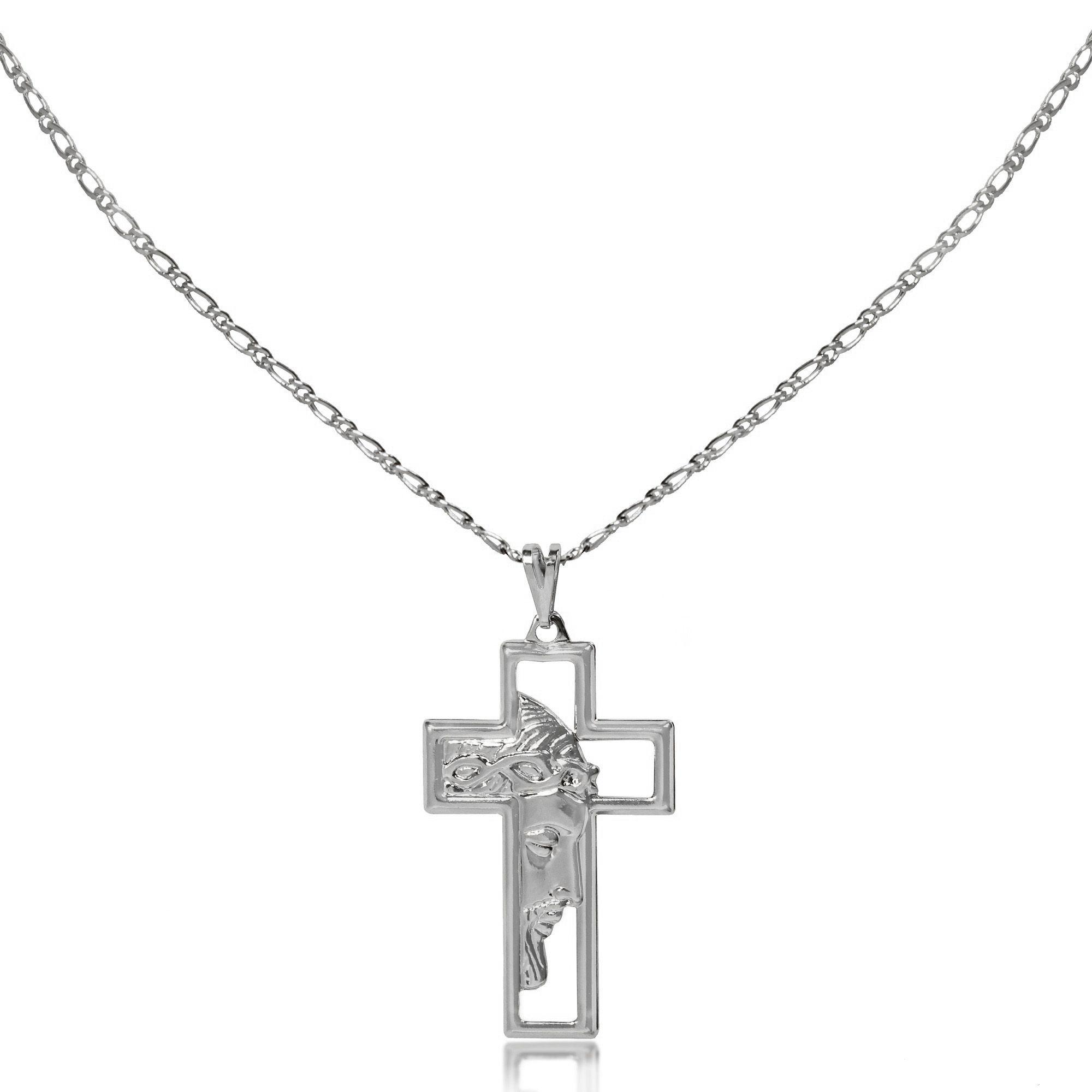 Corrente Masculina Cruz Jesus Vazado Folheado Prata 1000