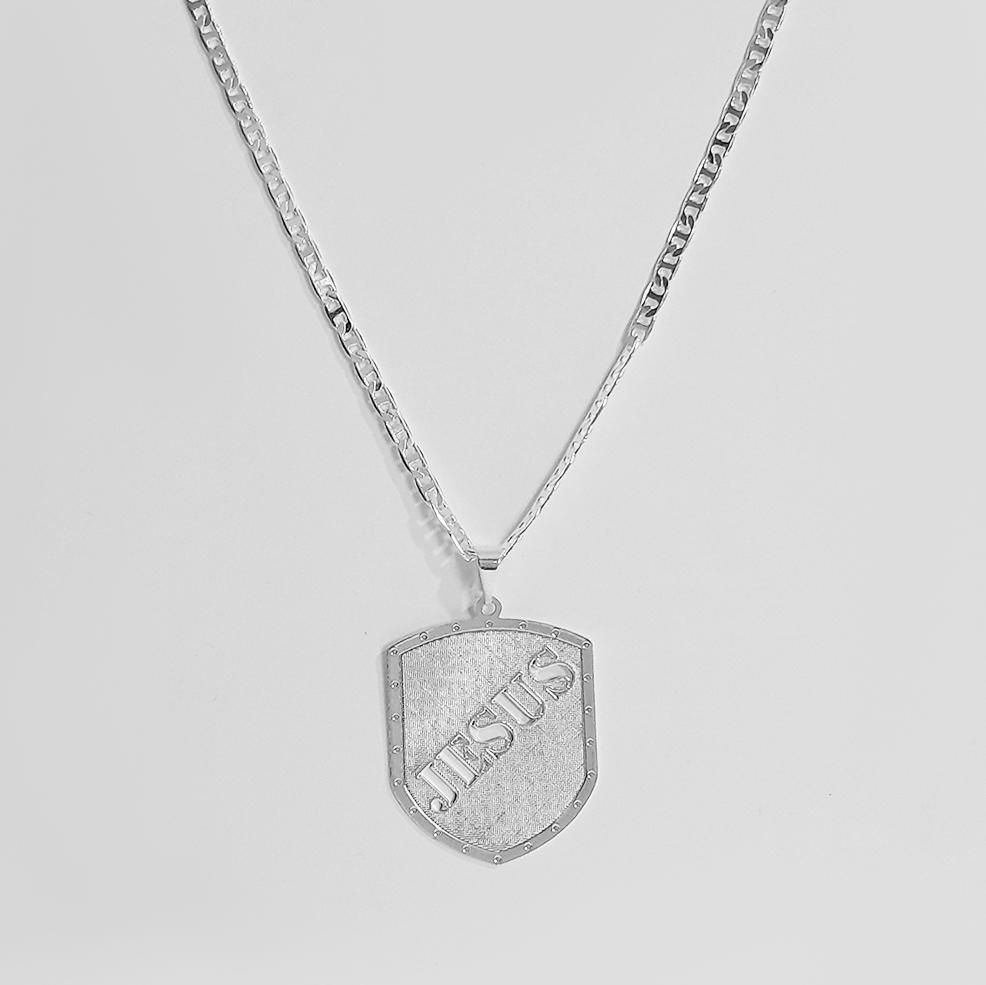 Corrente Masculina 2,5mm Escudo Jesus Folheado Prata 1000  - Lunozê Joias