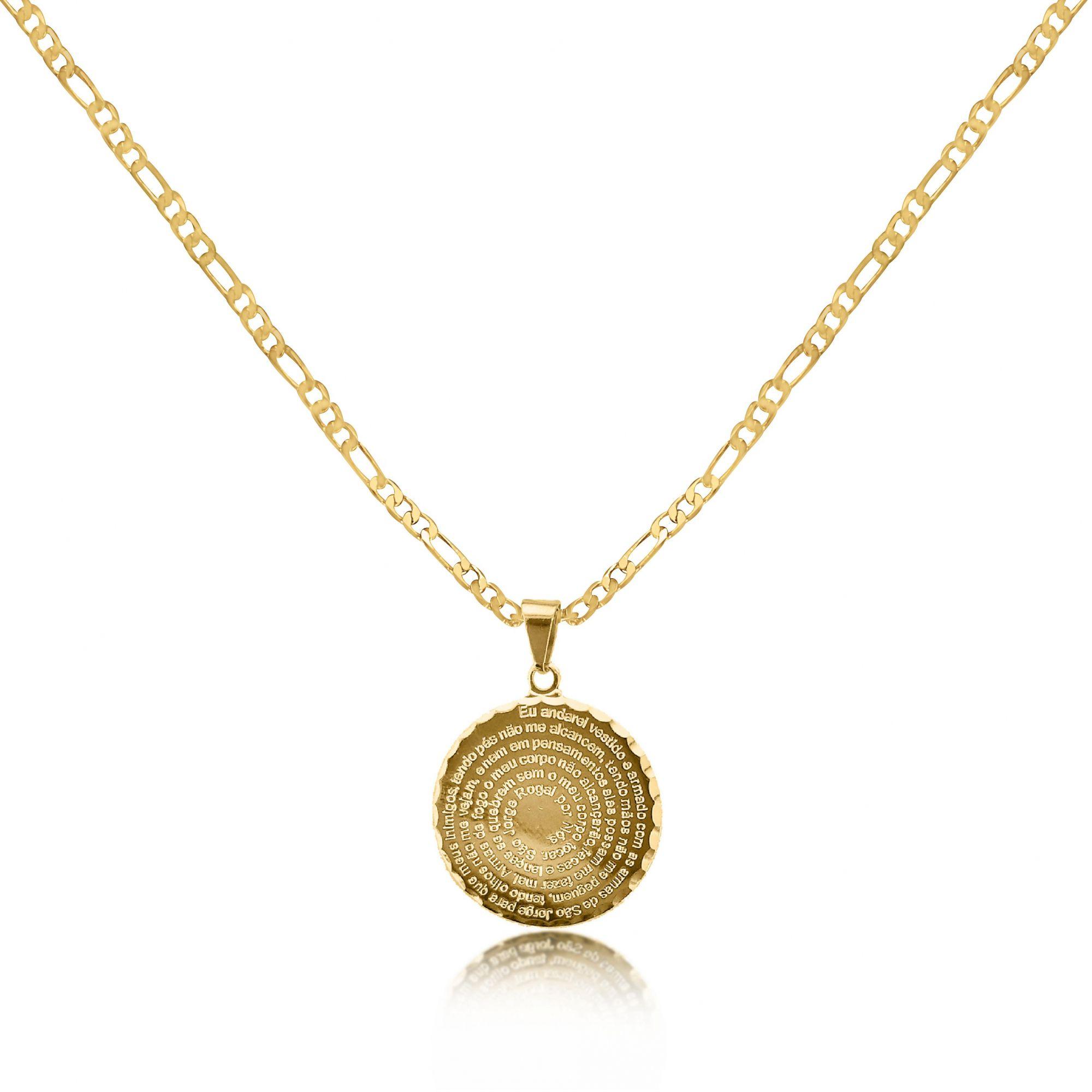 Corrente Masculina 3x1 4mm Mandala São Jorge Folheado a Ouro 18k