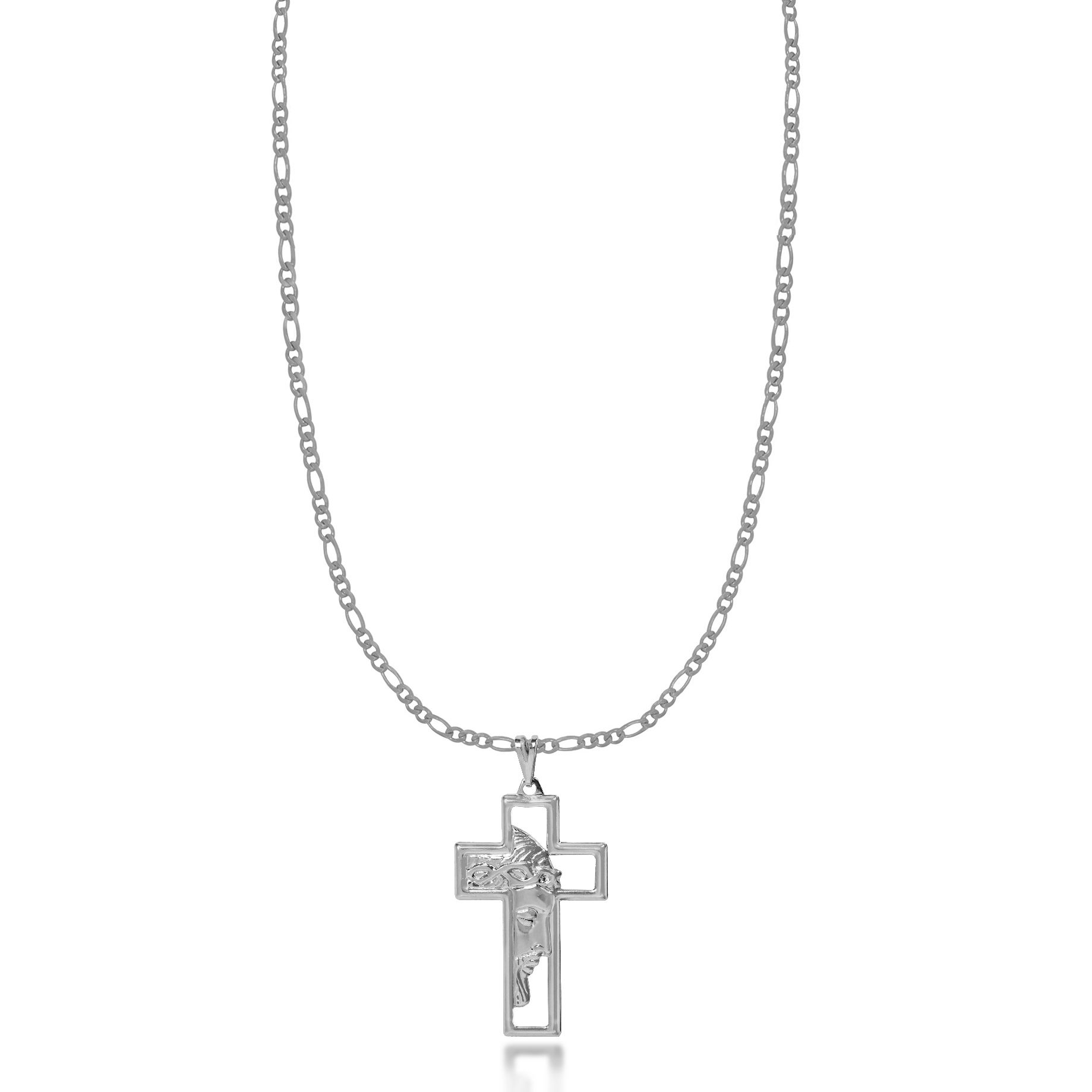 Corrente Masculina 3x1 Cruz Jesus Vazado Folheado Prata 1000  - Lunozê Joias