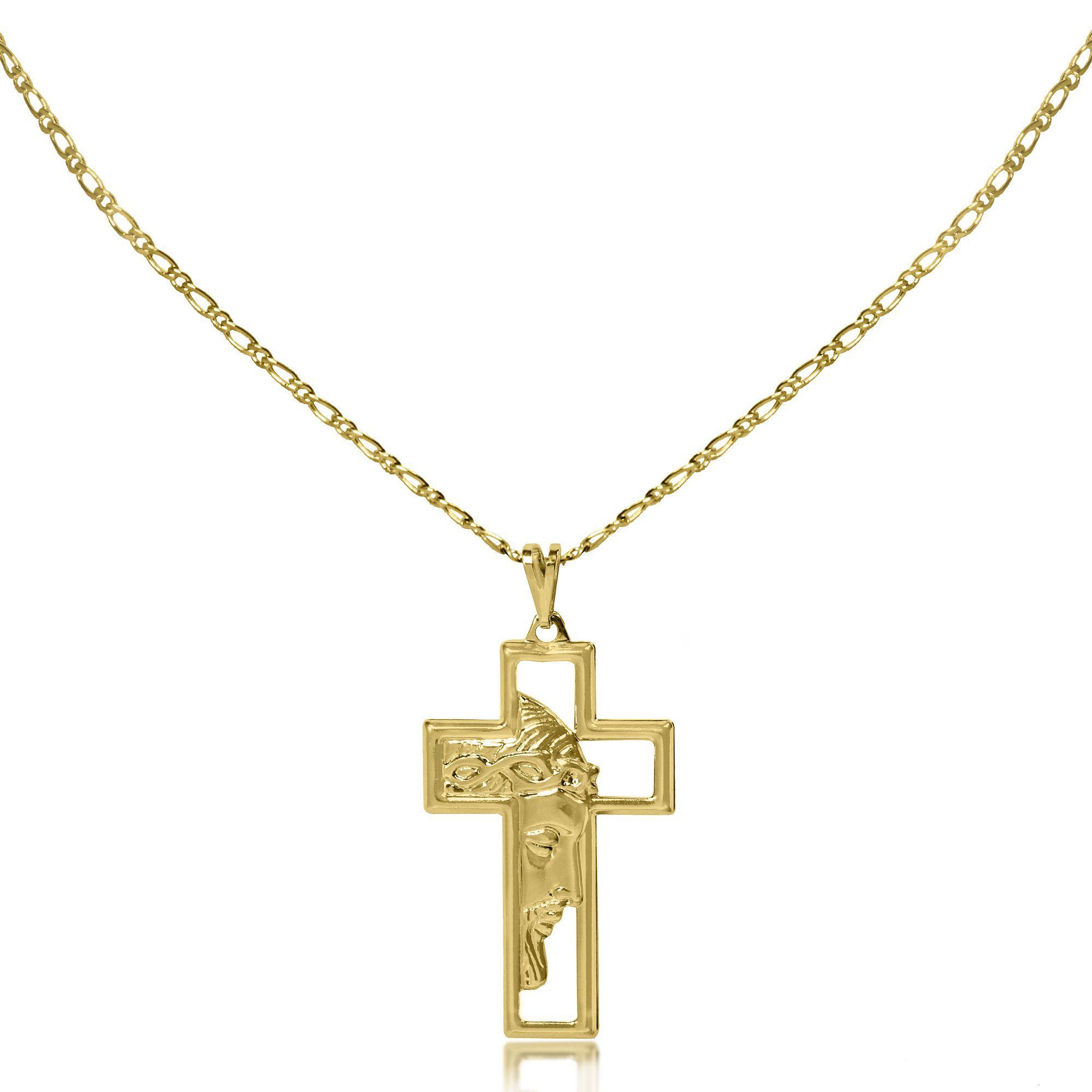 Corrente Masculina Cruz Jesus Vazado Folheado a Ouro 18k