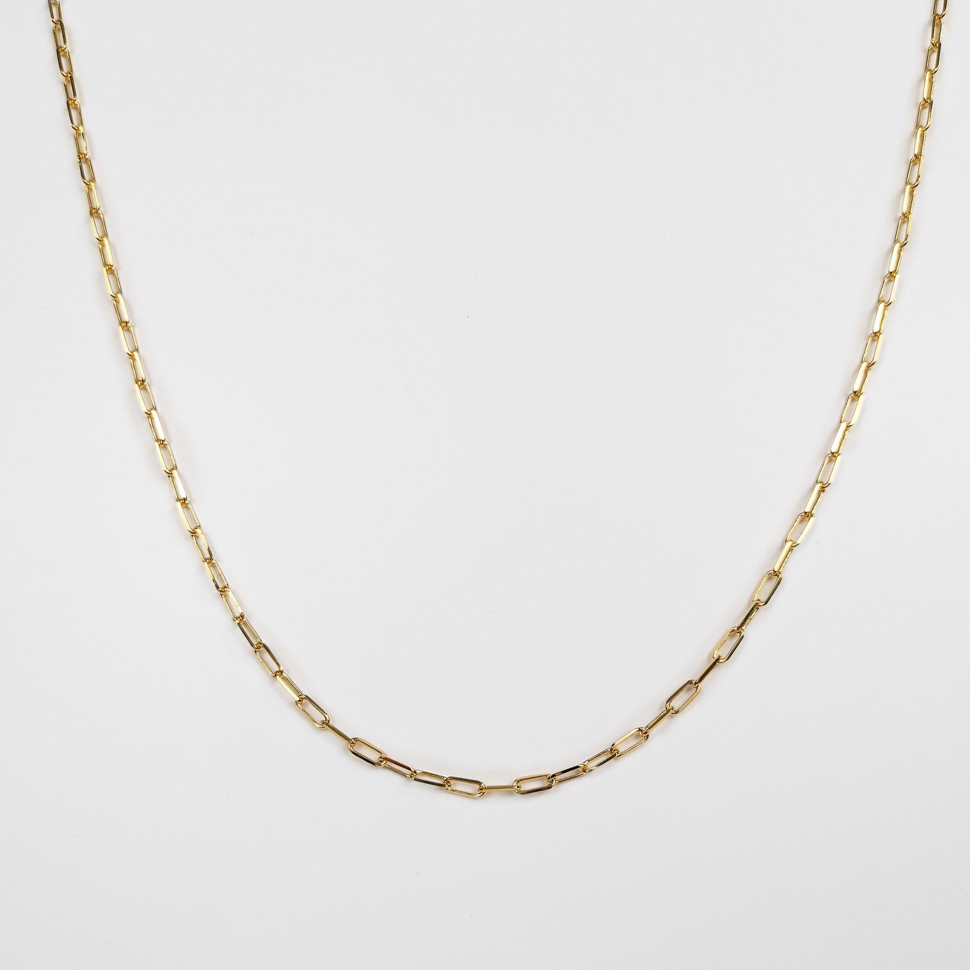 Corrente Masculina Elo Alongado 2,5mm 60cm Folheado Ouro 18k  - Lunozê Joias