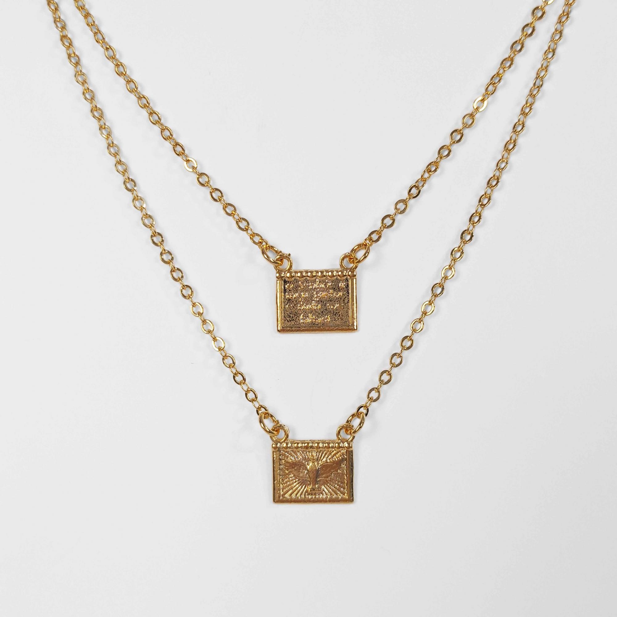 Escapulário Espirito Santo com Mensagem 60cm Folheado Ouro 18K  - Lunozê Joias