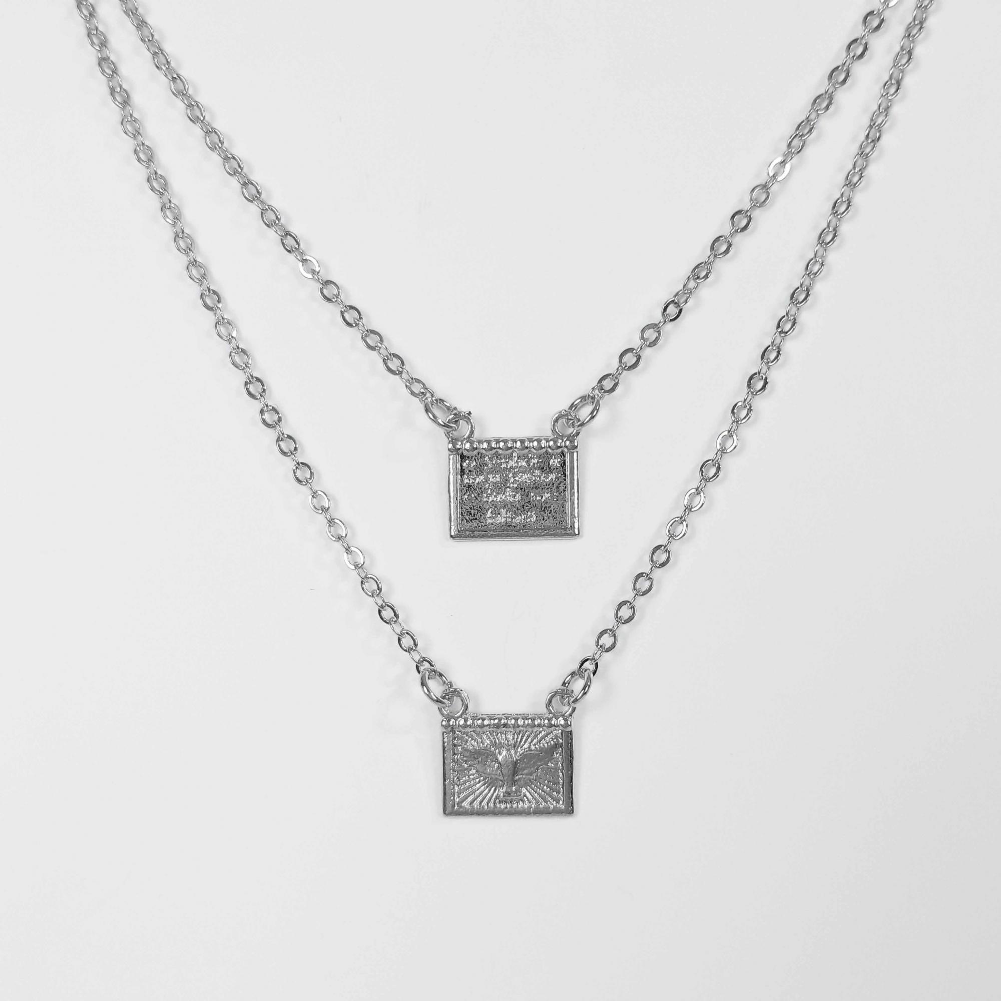 Escapulário Espirito Santo com Mensagem 60cm Folheado Prata 1000  - Lunozê Joias