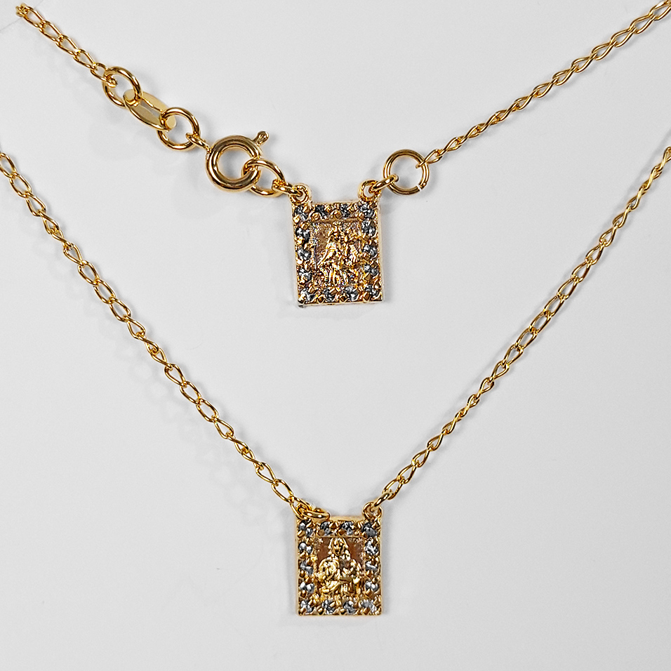 Escapulário Texturizado e com Strass 45cm Folheado Ouro 18K  - Lunozê Joias