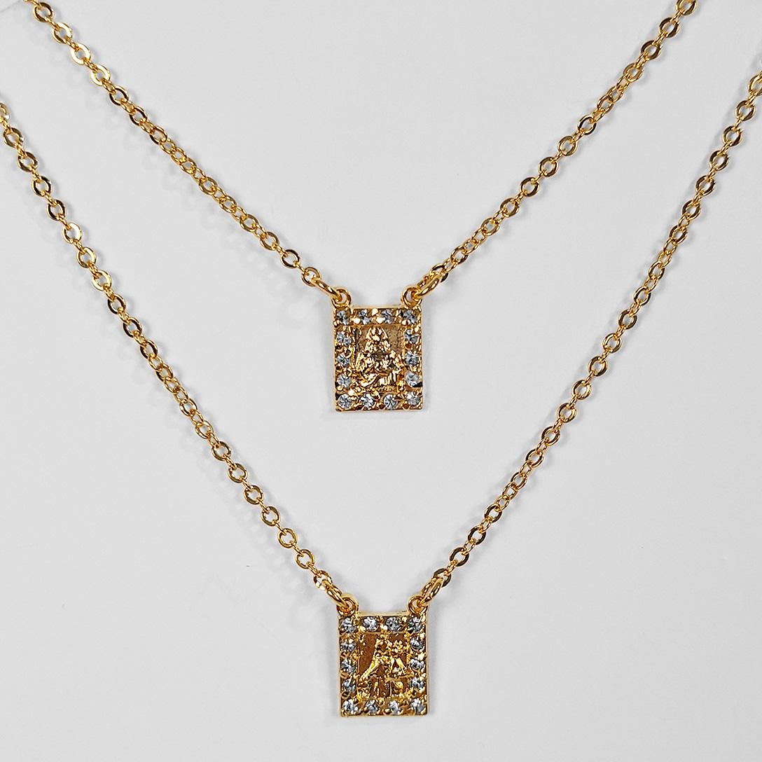 Escapulário Texturizado e com Strass 60cm Folheado Ouro 18K  - Lunozê Joias