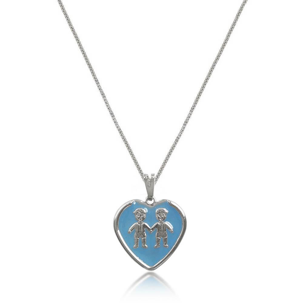 Gargantilha 2 Meninos Resina Azul Coração Folheado a Prata 1000  - Lunozê Joias