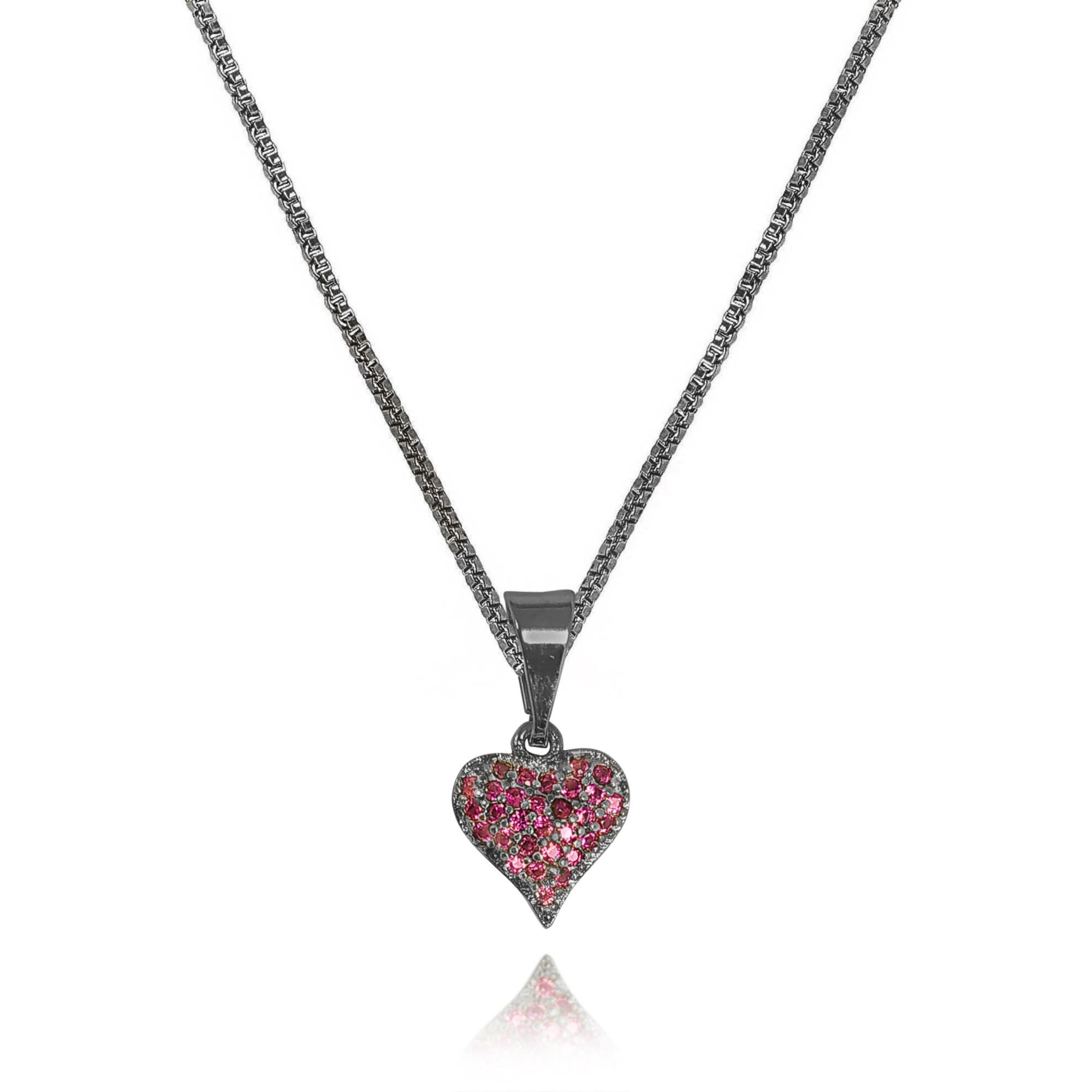 Gargantilha 38cm Coração Rosa Zircônia Banhada a Ródio Negro