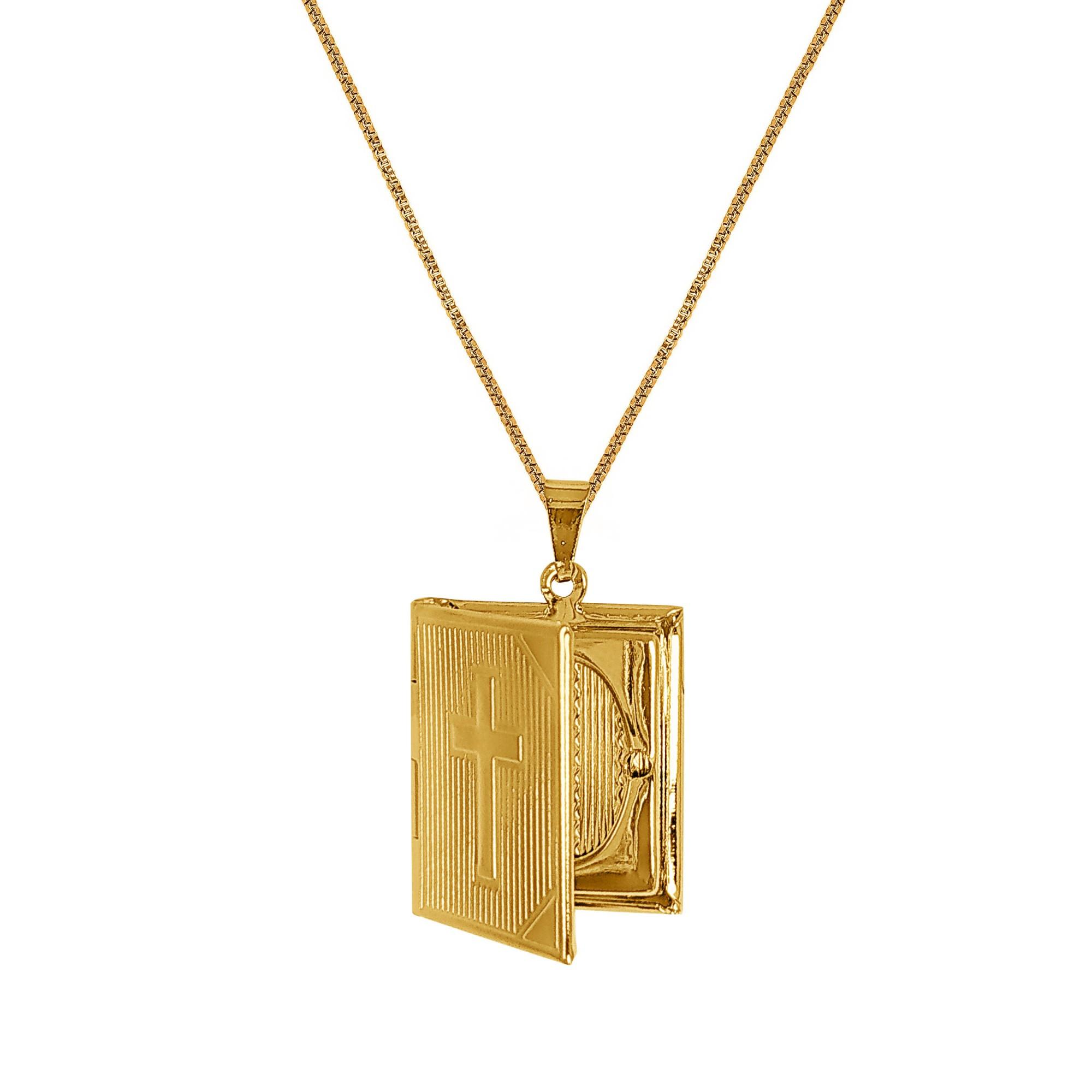 Gargantilha 60 cm Relicário Textura Cruz Folheado Ouro 18k