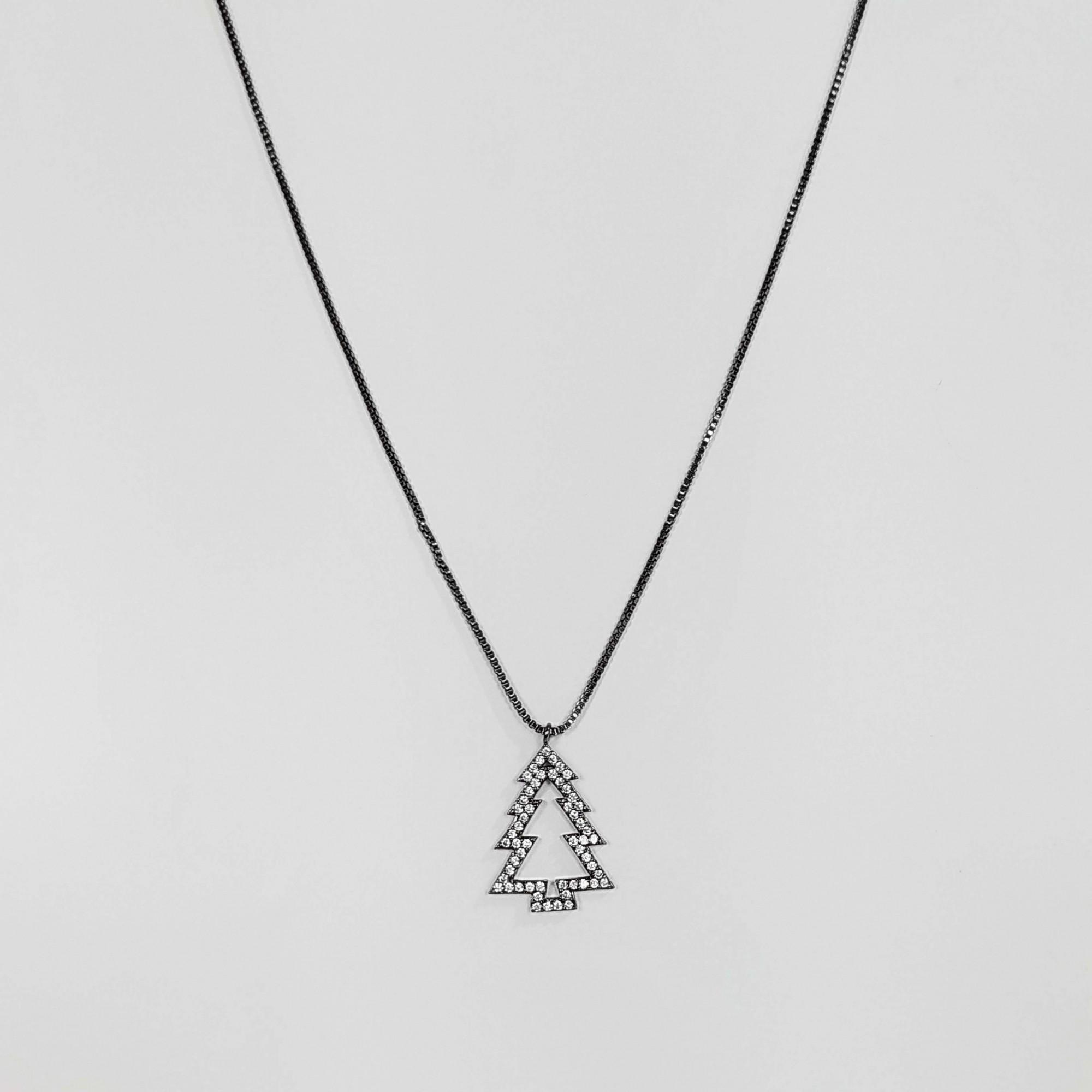 Gargantilha Árvore de Natal com Zircônias Banho Ródio Negro  - Lunozê Joias