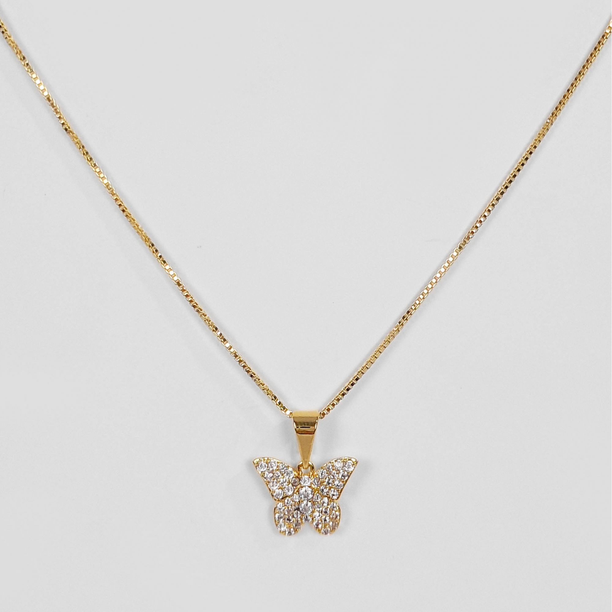 Gargantilha Borboleta Cravejada Zircônias Folheada Ouro 18k  - Lunozê Joias