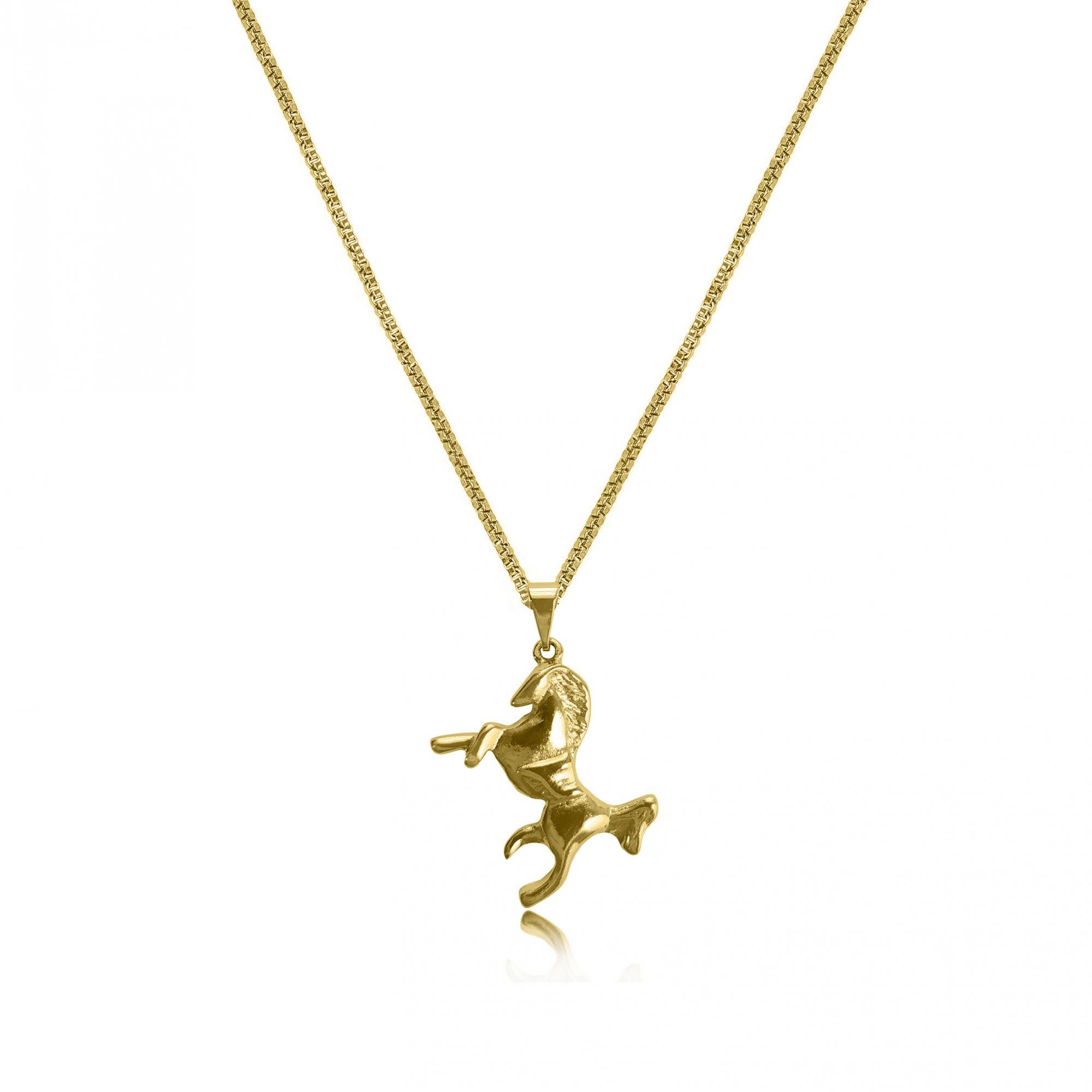Gargantilha Cavalo Folheado Ouro 18k
