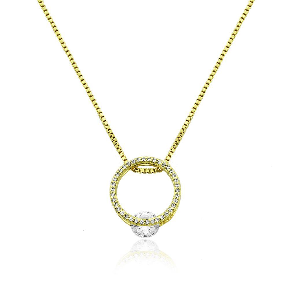 Gargantilha Circulo de Zirconia Folheado a Ouro 18k