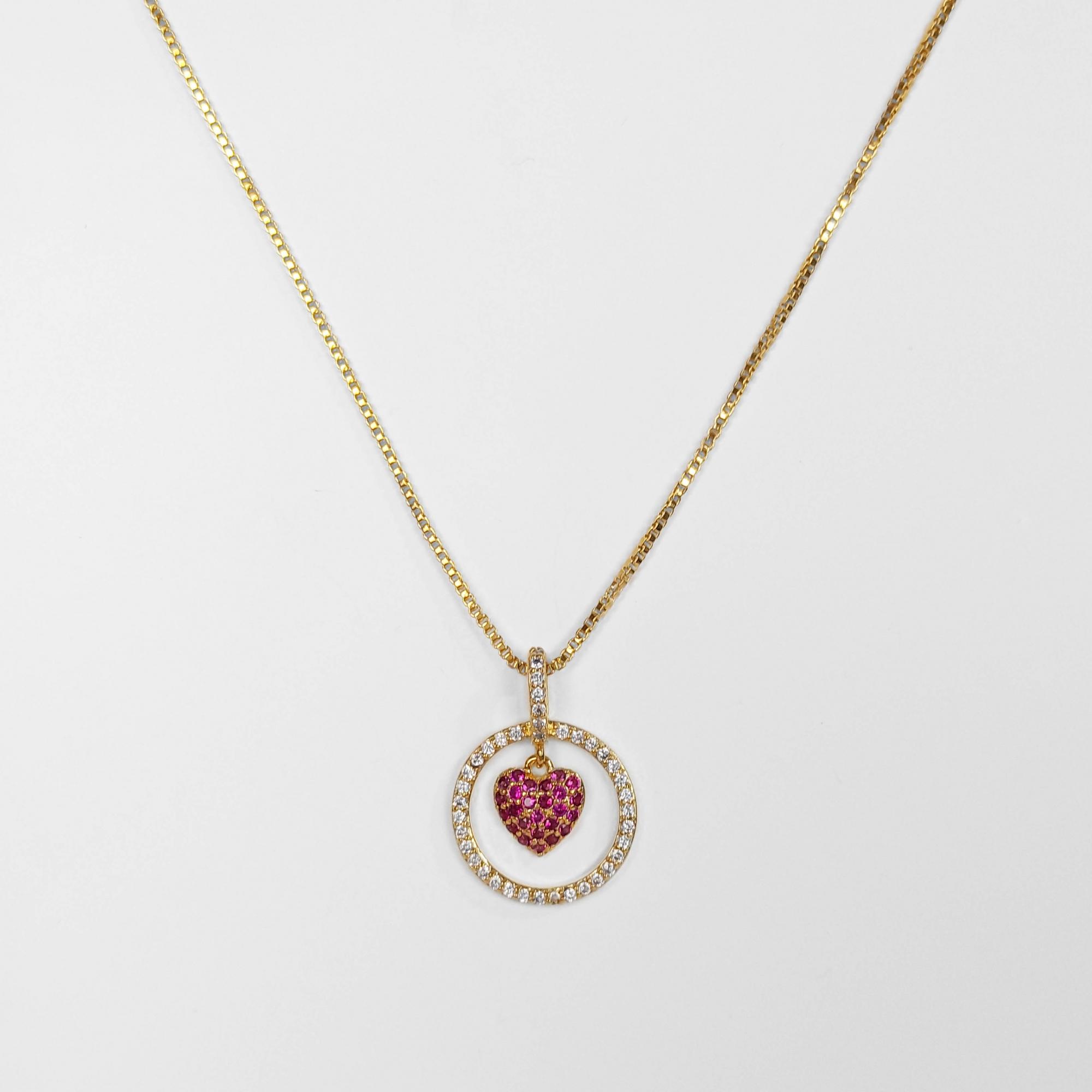 Gargantilha com Círculo e Coração Central Folheado Ouro 18K  - Lunozê Joias