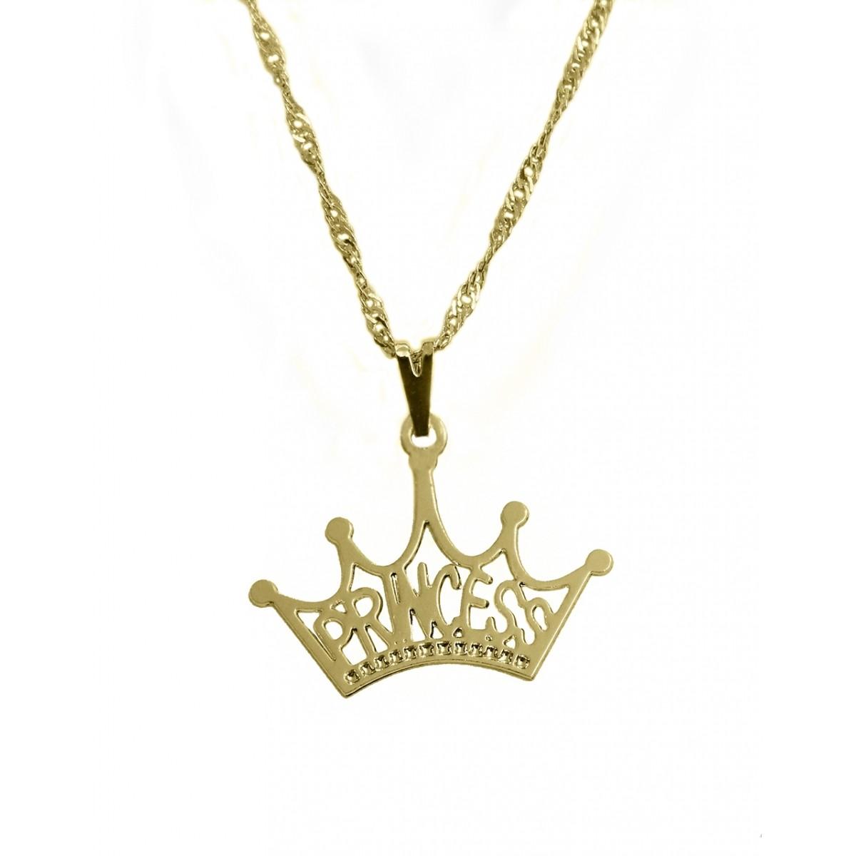 Gargantilha Com Pingente De Coroa Vazada Escrito Princess Folheada A Ouro 18K