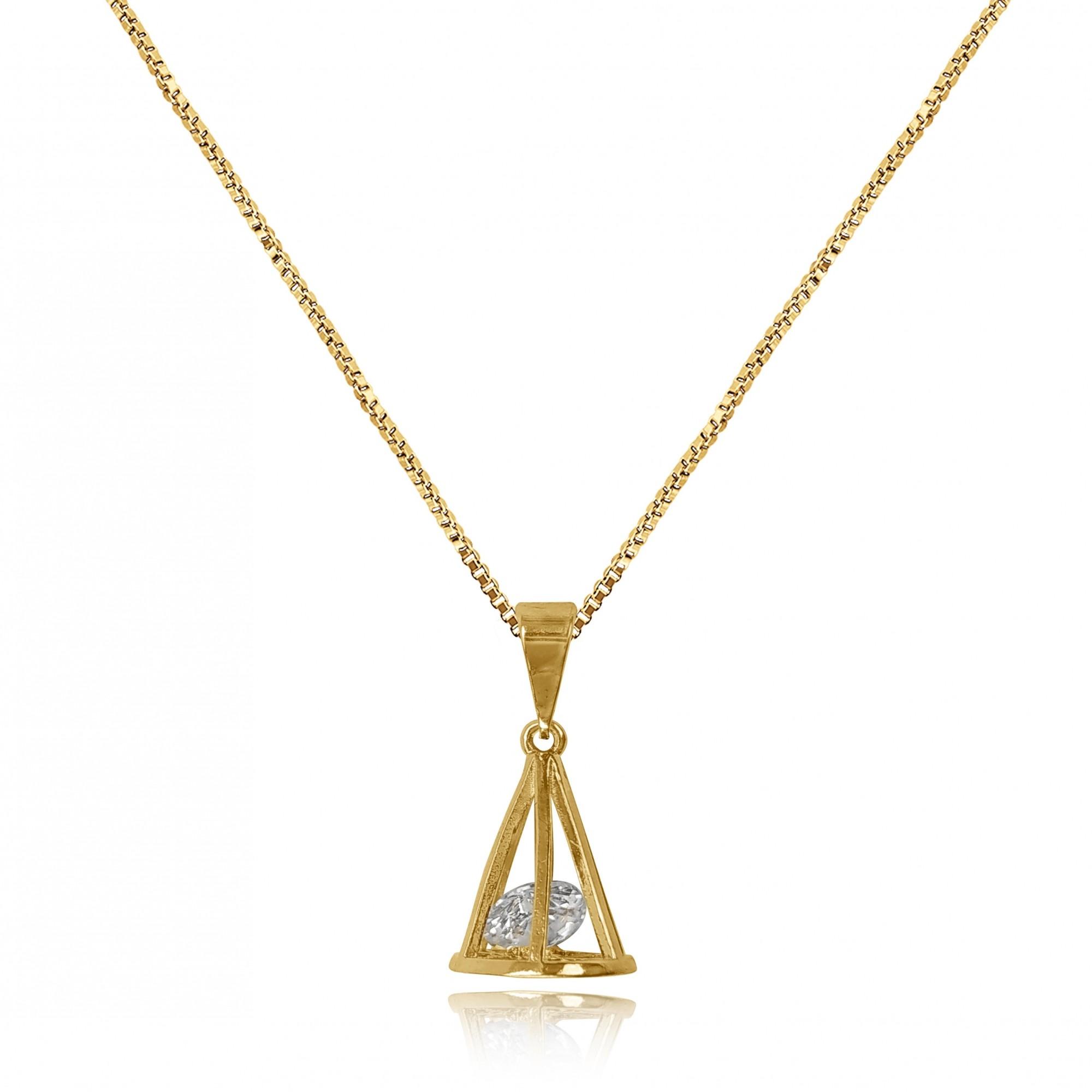 Gargantilha Cone Vazado com Zircônia Folheado a Ouro 18k  - Lunozê Joias